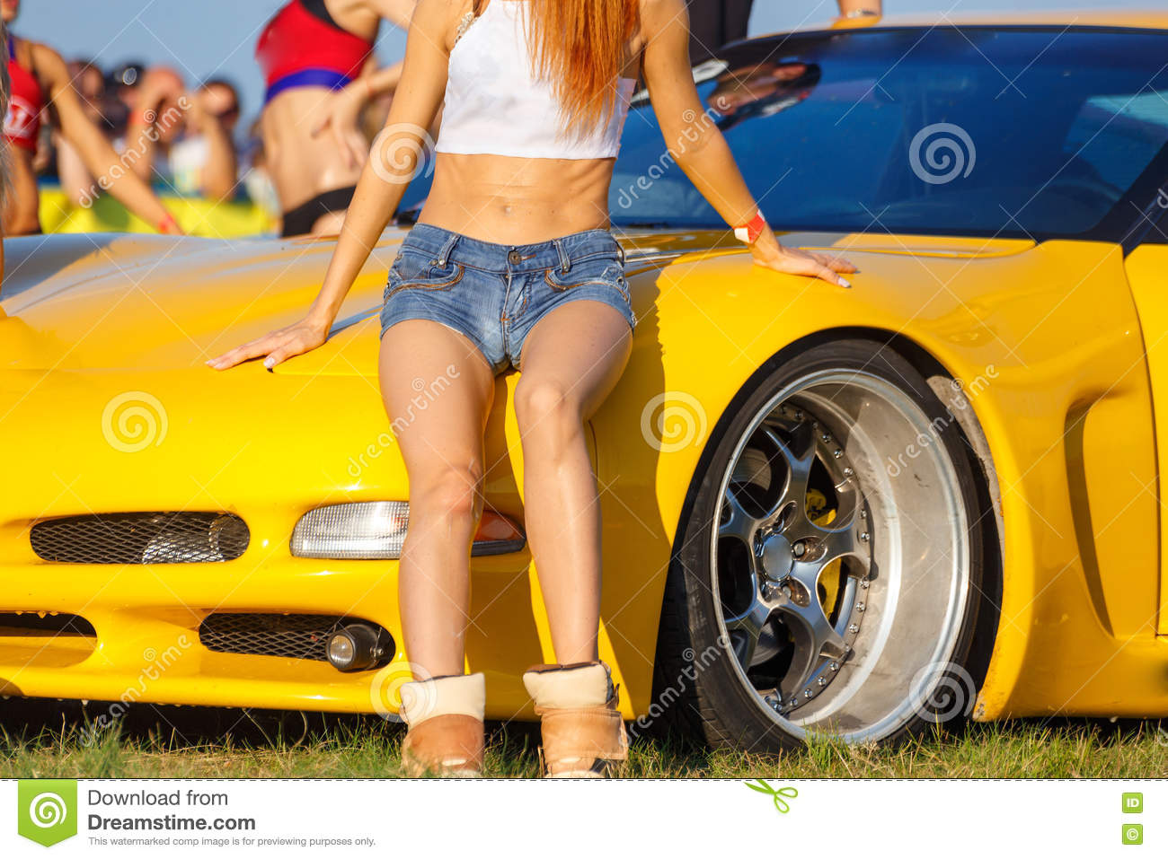 Girls Posing On Sport Car Stock Photo Image Of Nature 74755832