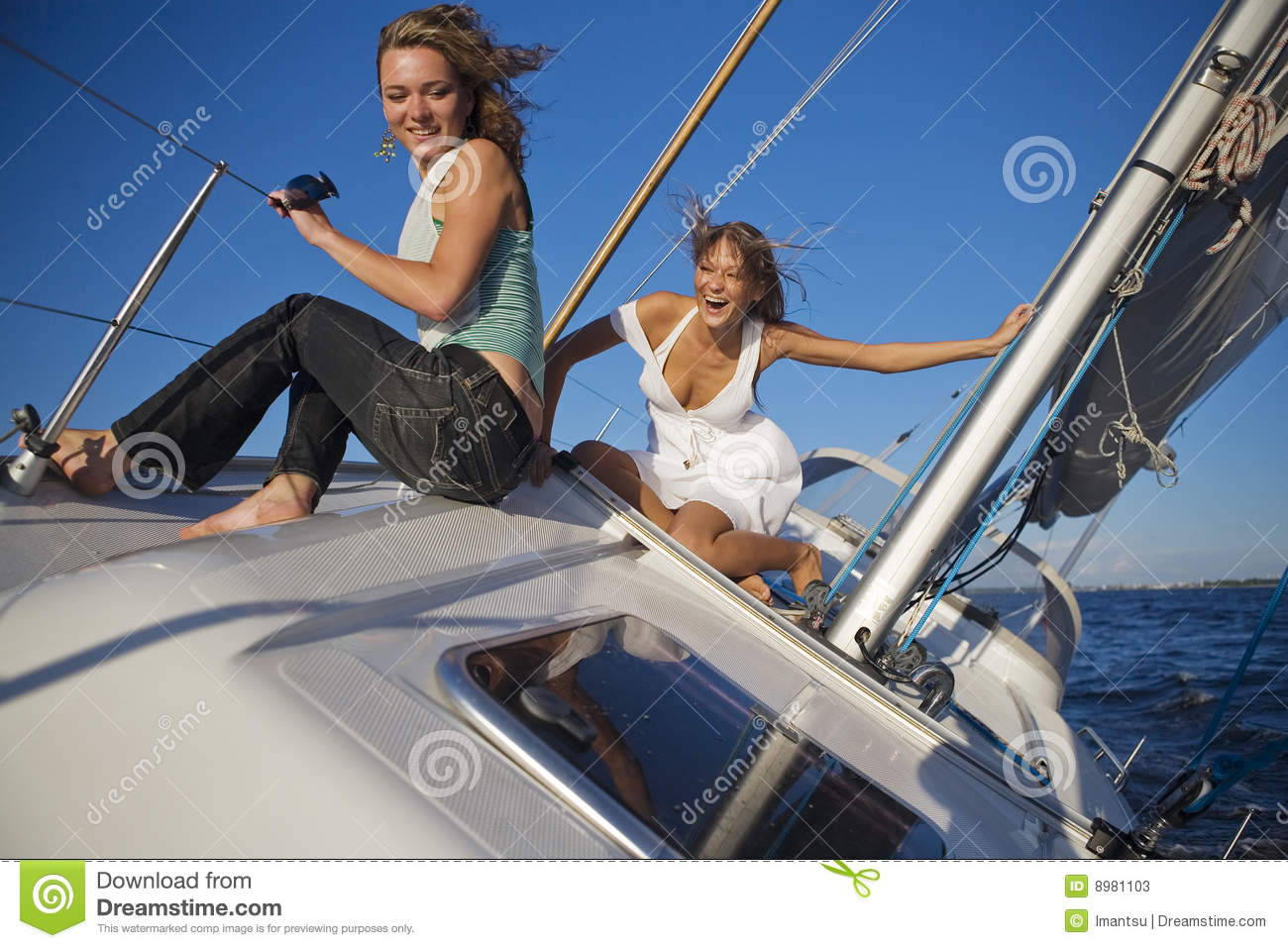 Girls posing on a yacht stock image. Image of relaxation ...