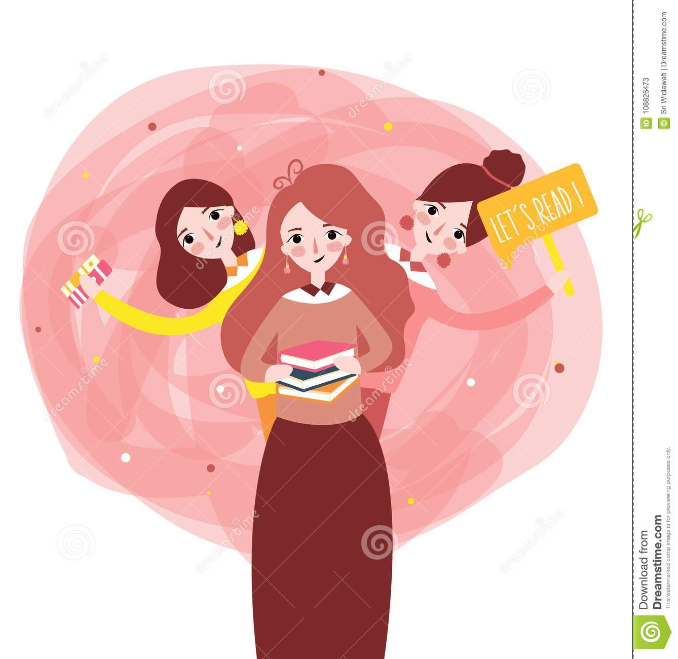 Girls reading book with phrase lets read book learn together illustration
