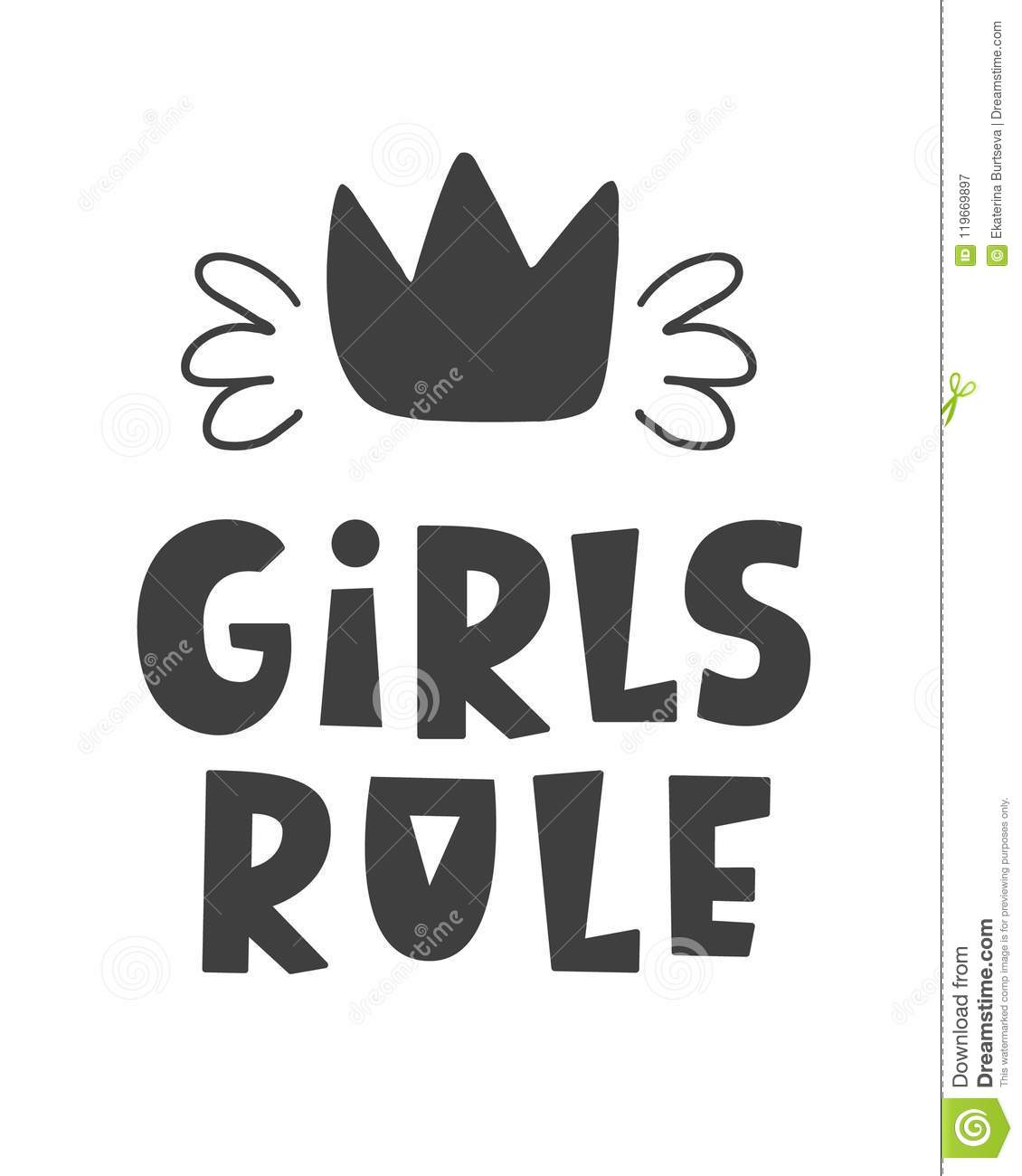photo relating to Printable Poster Letters called Women Rule. Scandinavian Design Childish Poster Inventory Vector
