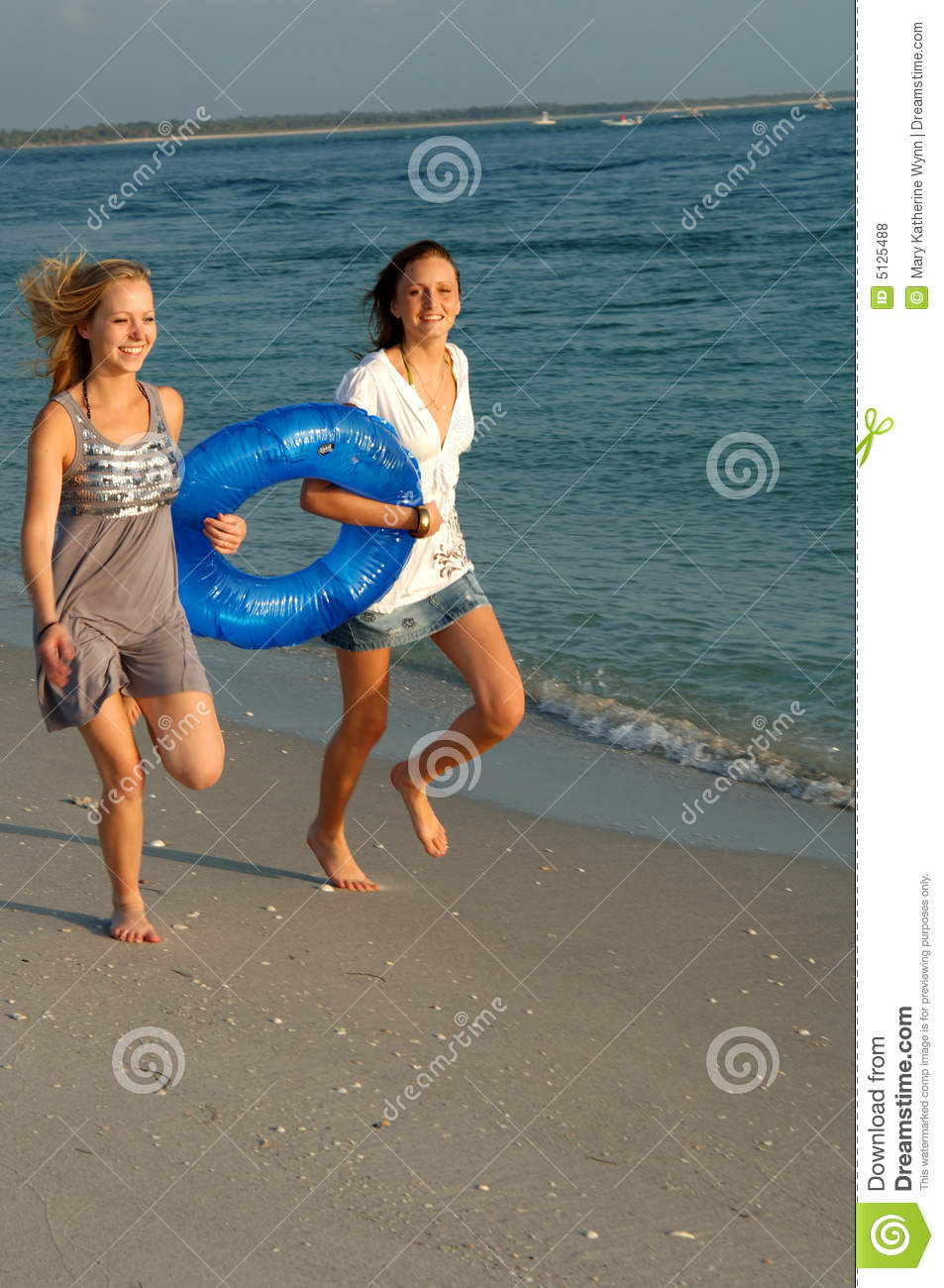 Girls running with float