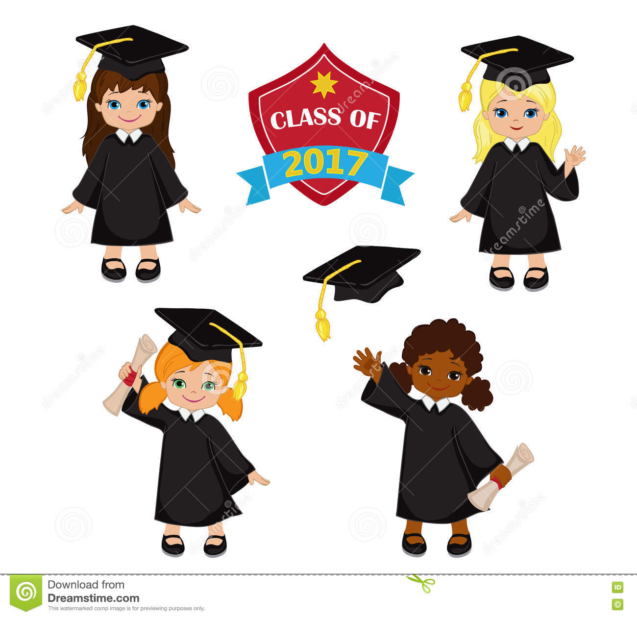 Girls. Set Of Children In A Graduation Gown And Mortarboard. Stock ...