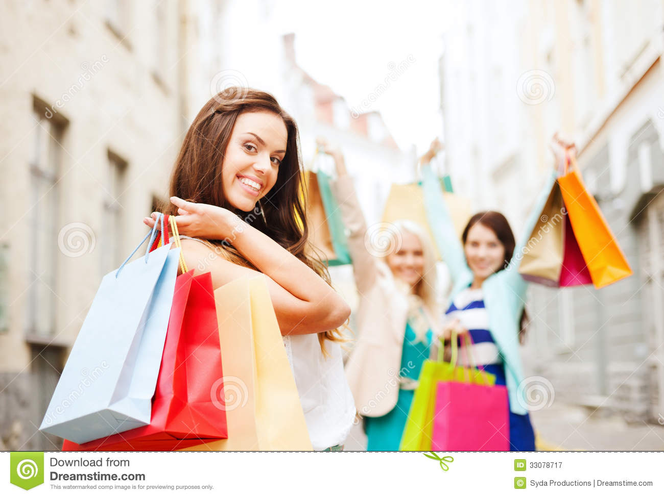 Girls With Shopping Bags, Stock Photos - Image: 10555533