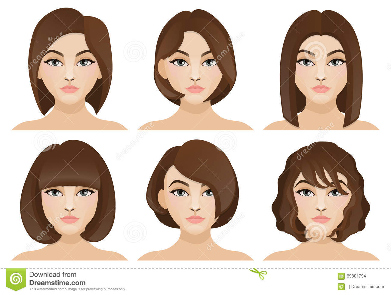 Girl Hairstyles Clipart: Girls With Short Hair Stock Vector. Illustration Of Brown