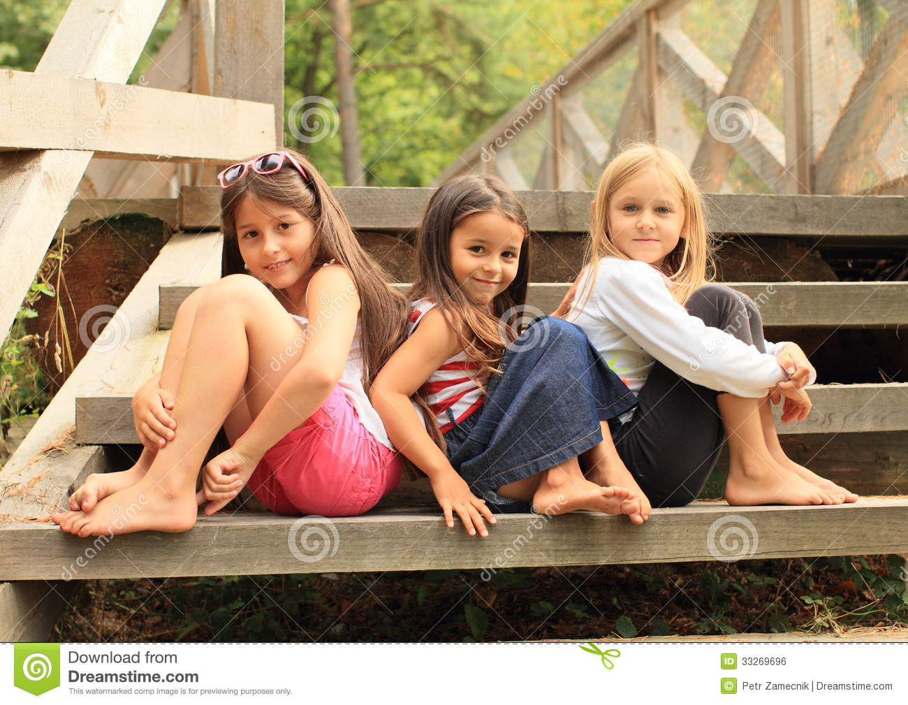 Girls sitting on stairs royalty free stock image image 33269696