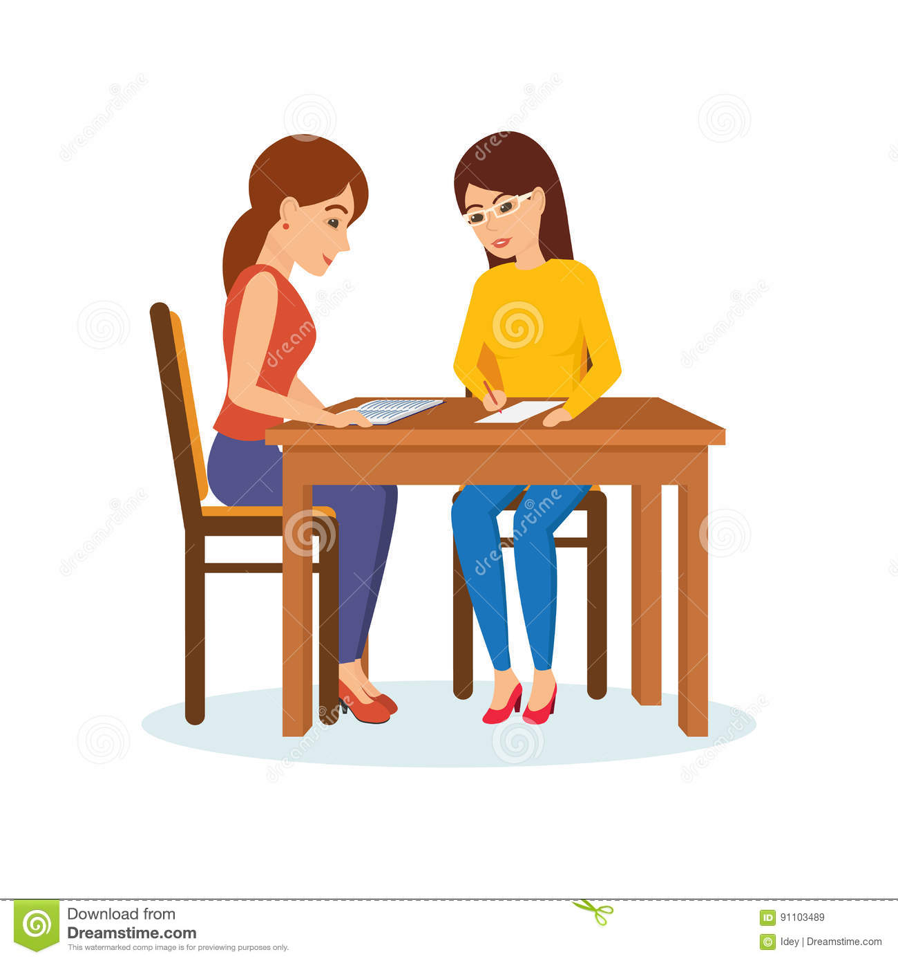 Deciding stock illustrations royalty free gograph - Girls Sitting At Table Decide Working Moments Discuss Exchange Materials Royalty Free Stock