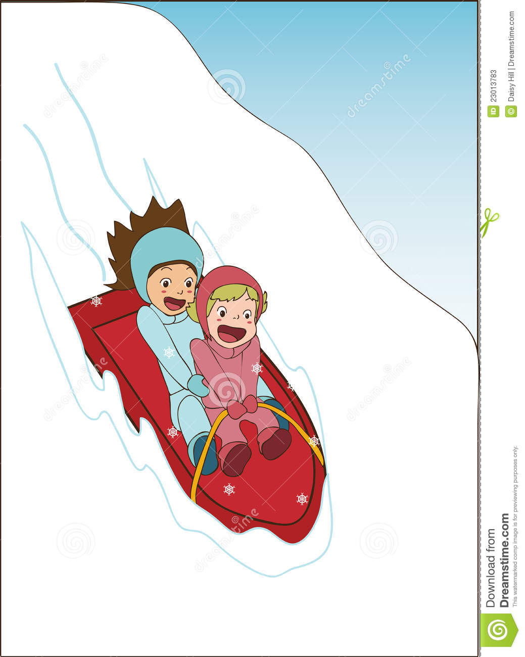 Kids Sledding Animated