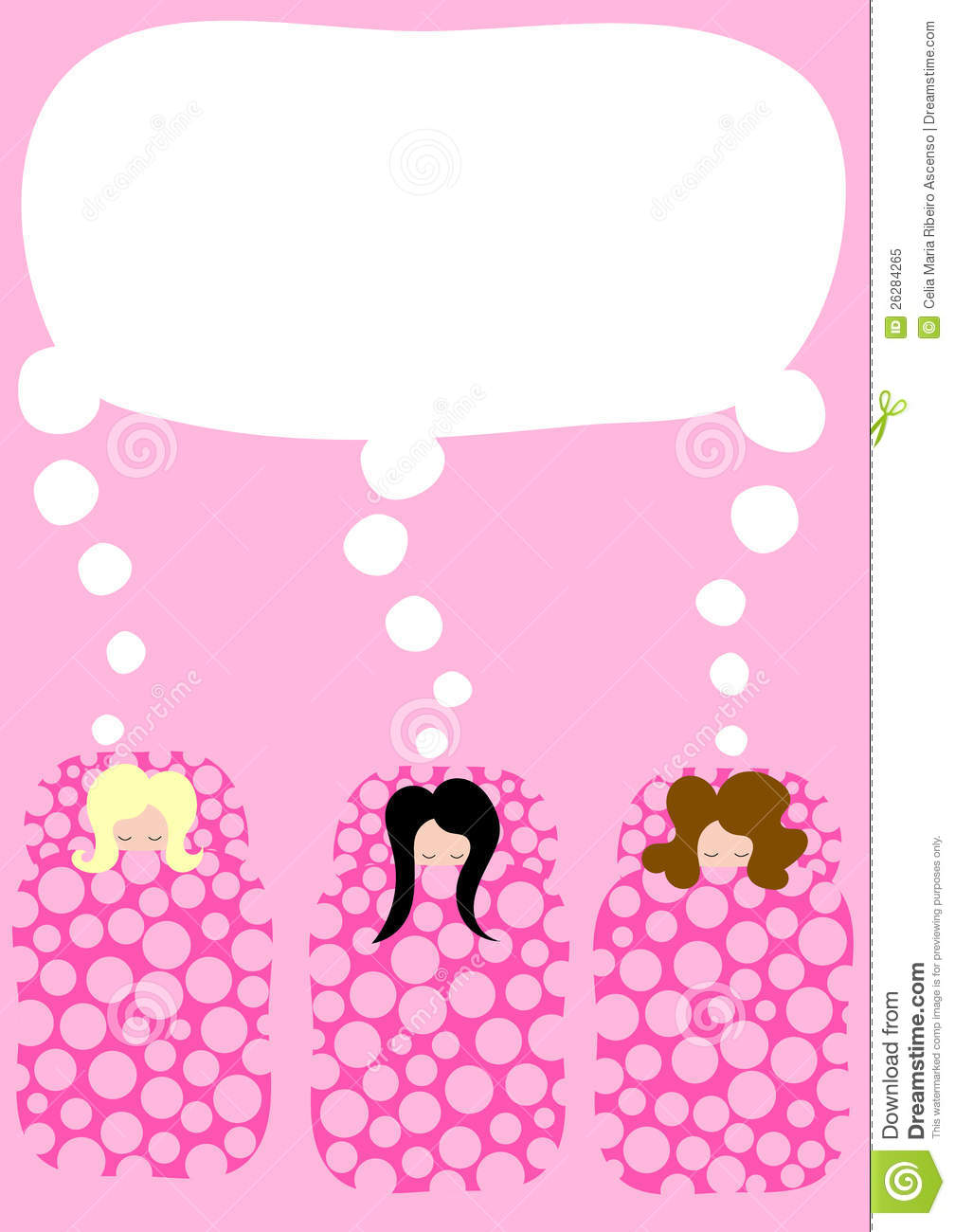 Girls In Sleeping Bags Pyjama Party Invitation Stock Illustration
