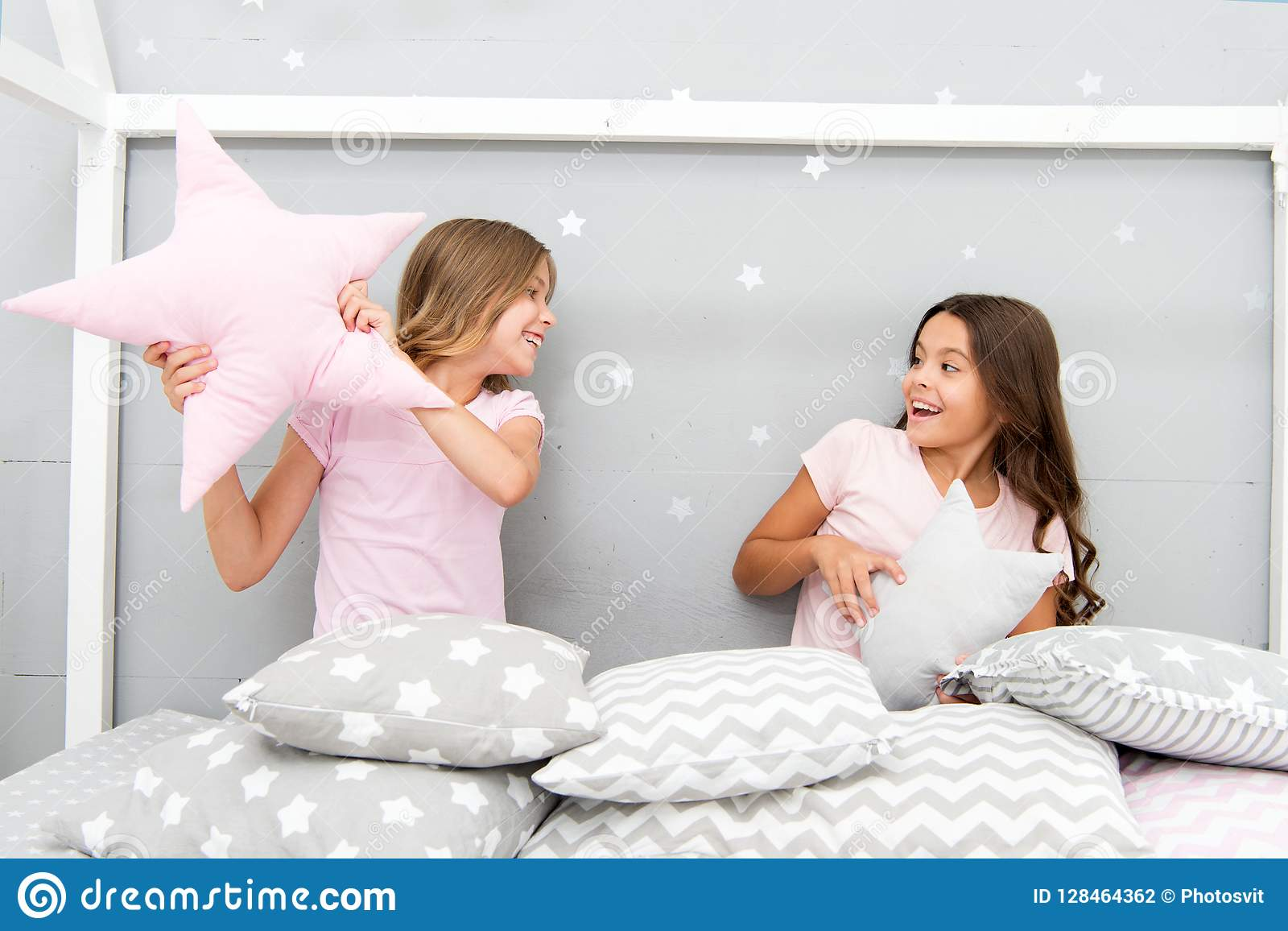 add4b67fa4 Girls sleepover party ideas. Soulmates girls having fun sleepover party. Girls  happy best friends in pajamas with pillows sleepover party.
