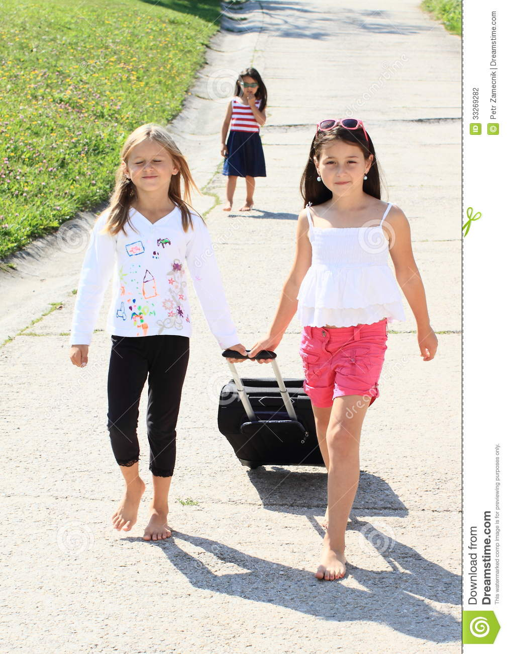 Two Barefoot Girls With Black Chech In Baggage Leaving Their Sad Sister