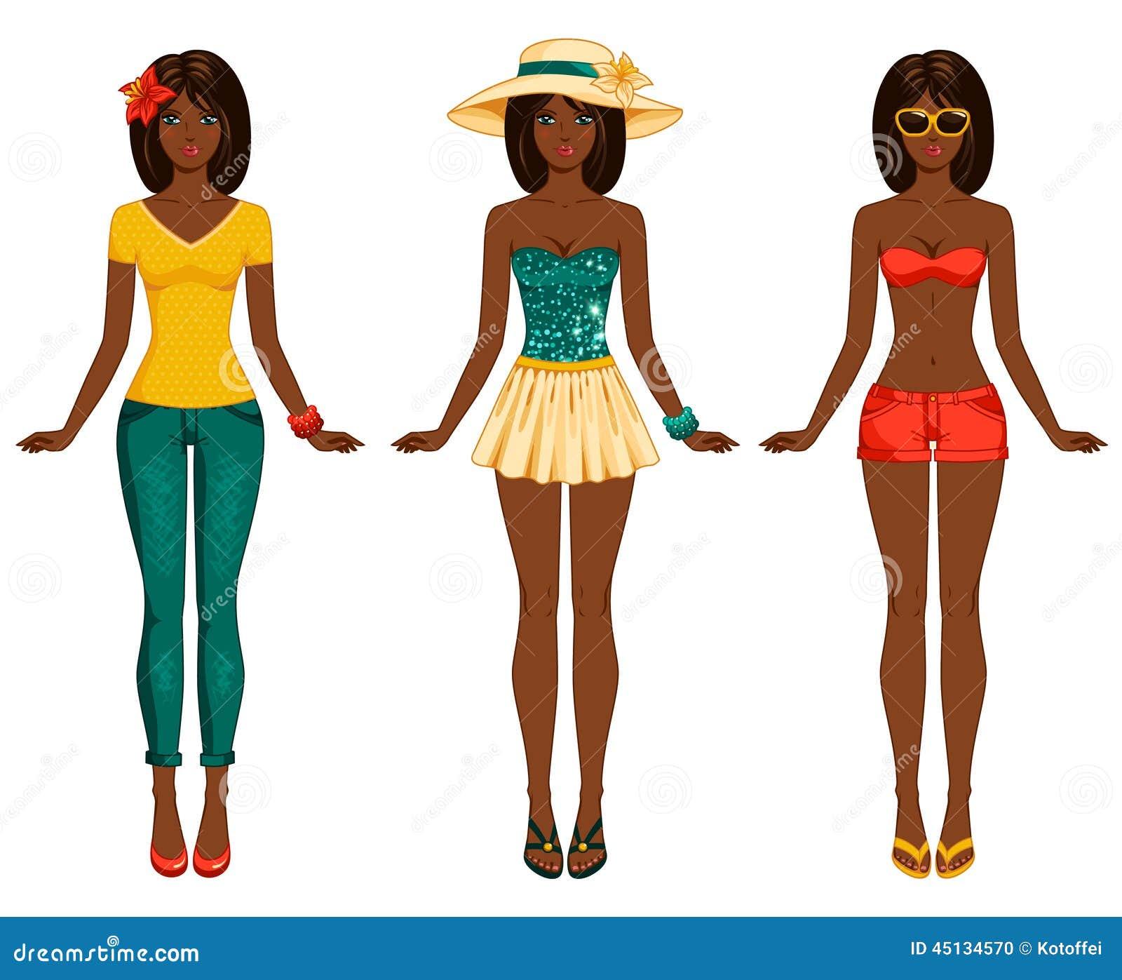 girls in summer clothes vector illustration