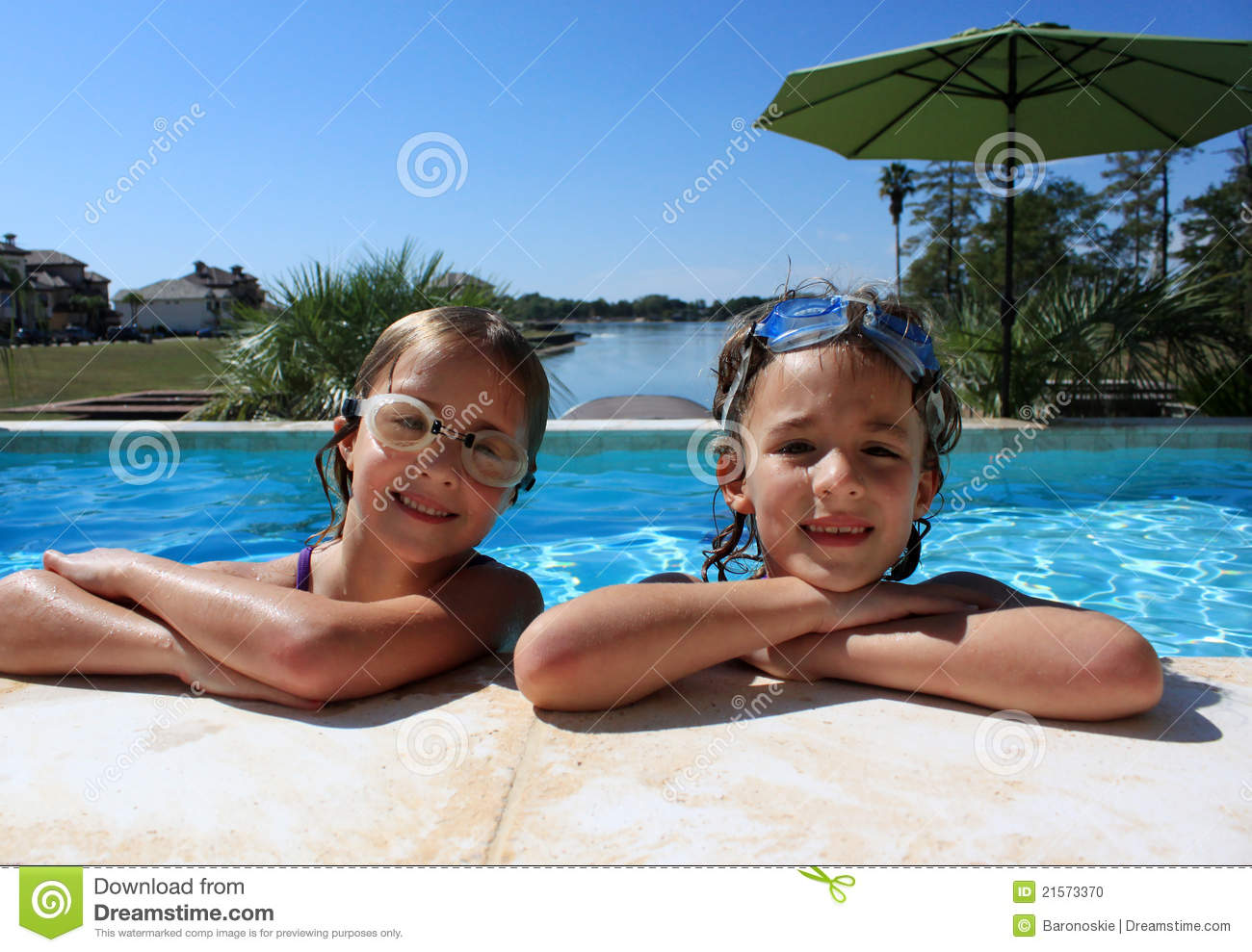Girls At Swimming Pool Stock Photo Image Of Sisters