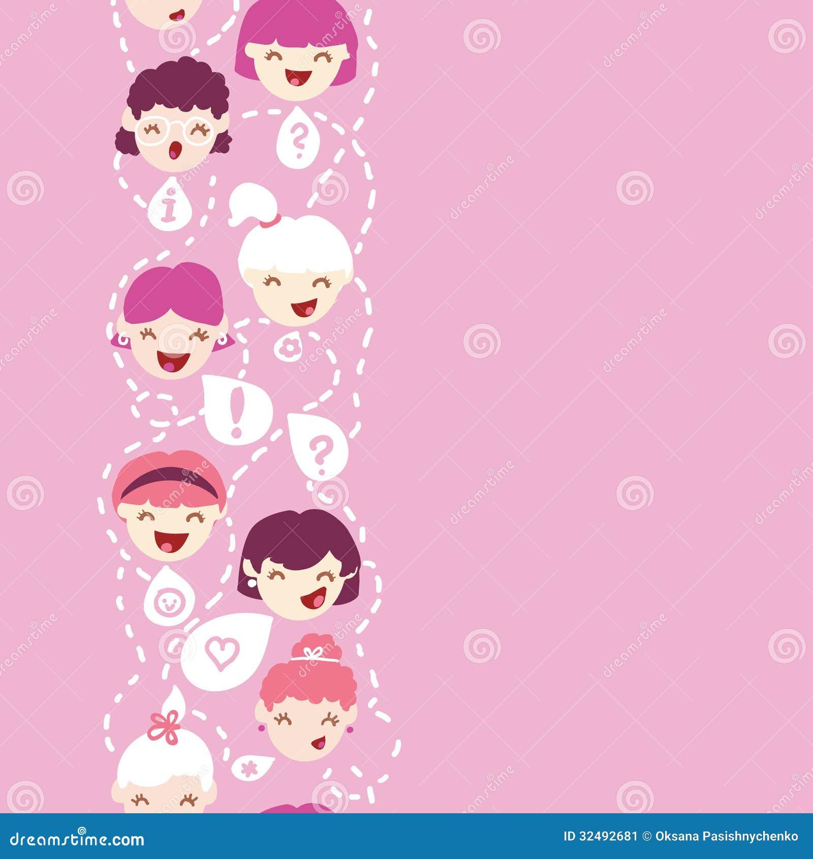 Girls Talking Seamless Pattern Background Royalty Free Stock Photo ...
