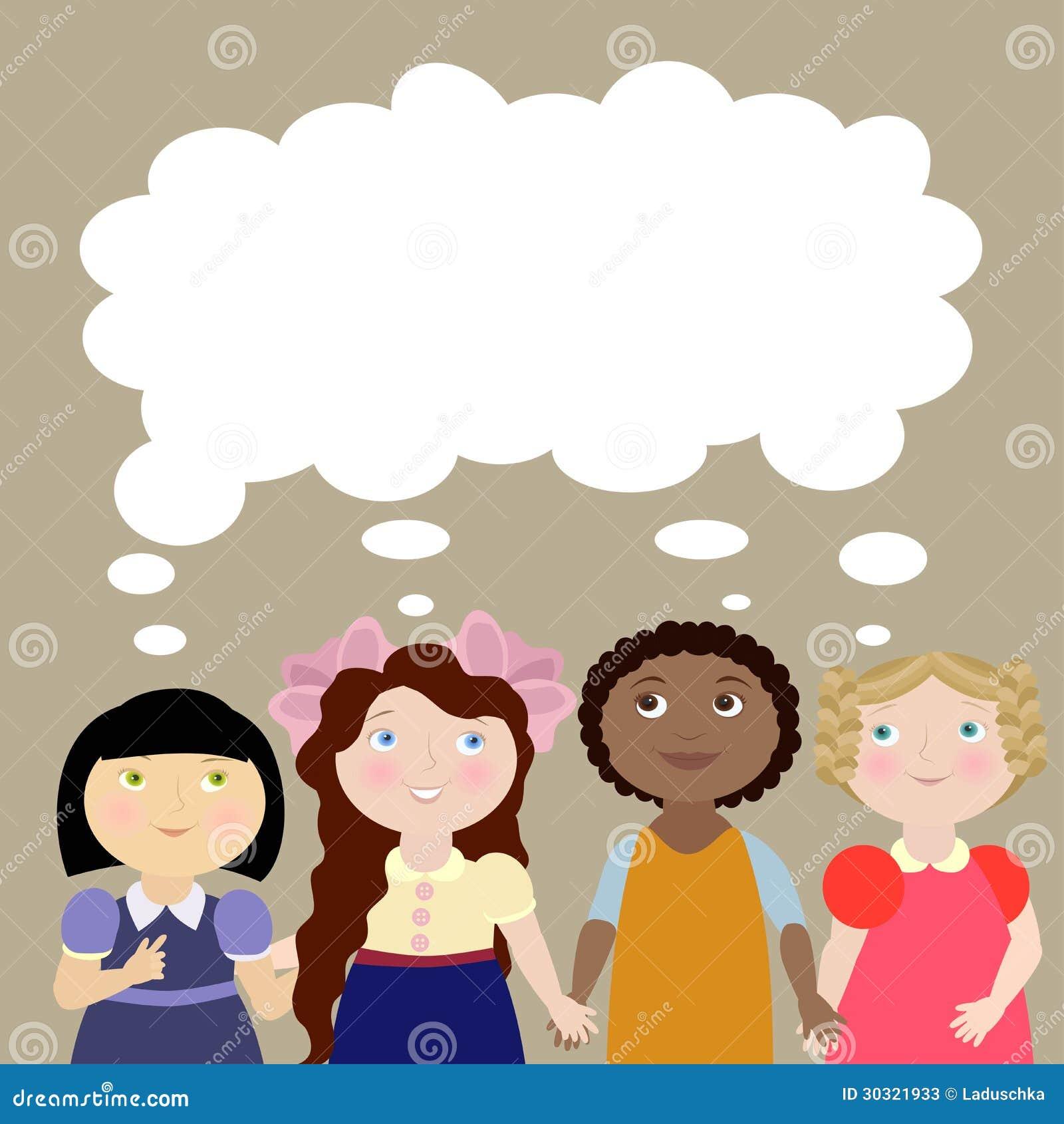 4 Girls With Thinking Bubble Stock Photos - Image: 30321933