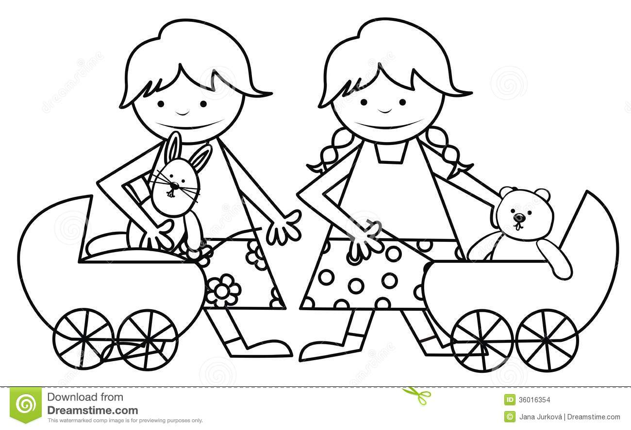 girls and toys coloring book stock images image 36016354