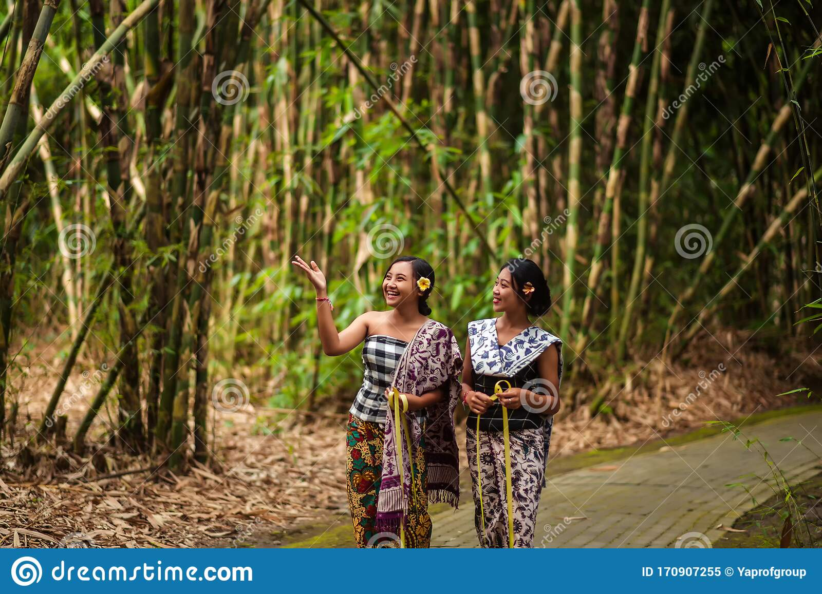 Girls In Traditional Balinese Clothes In The Bamboo Forest Stock