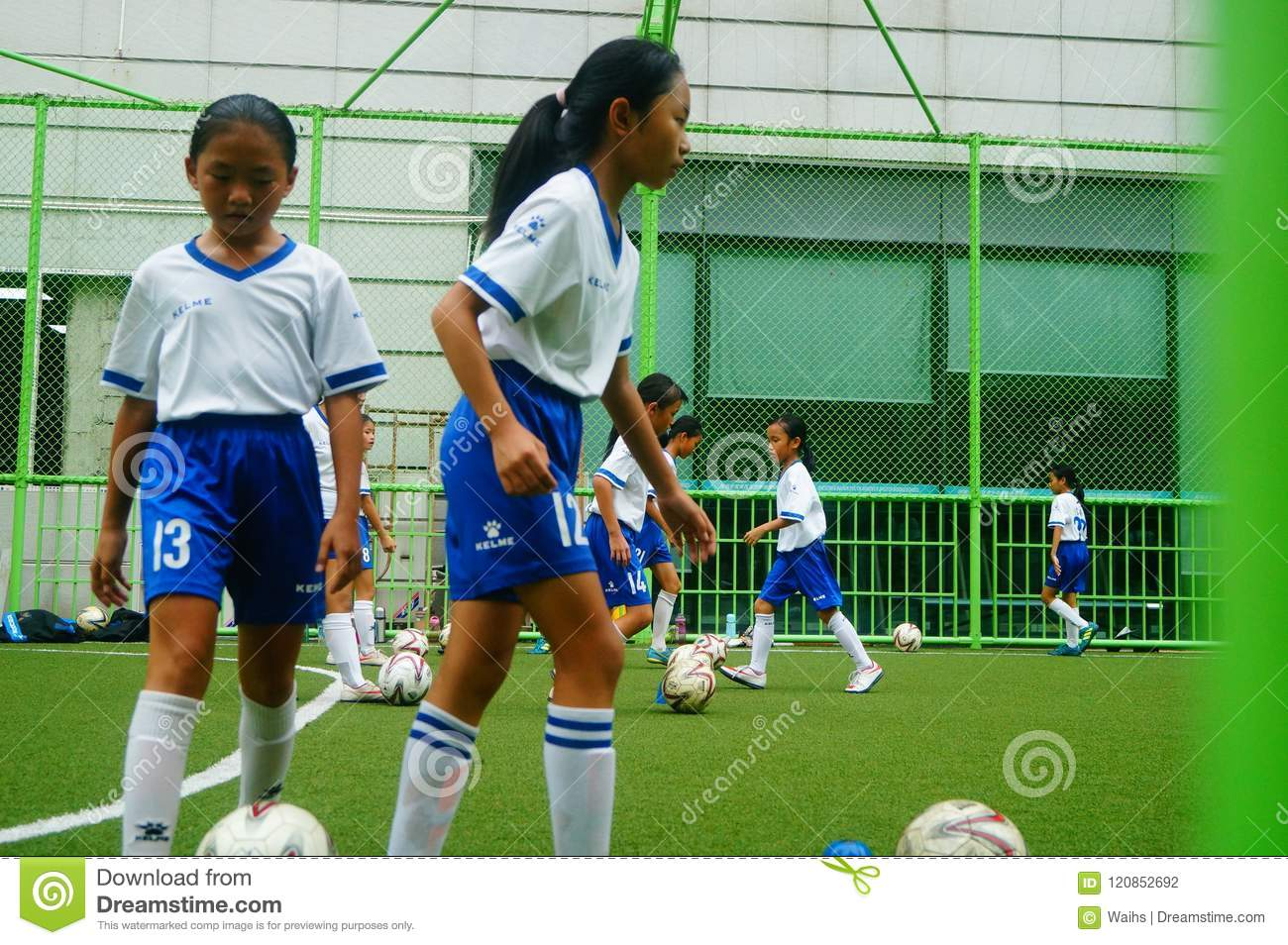 Shenzhen, China: girls are training to play football