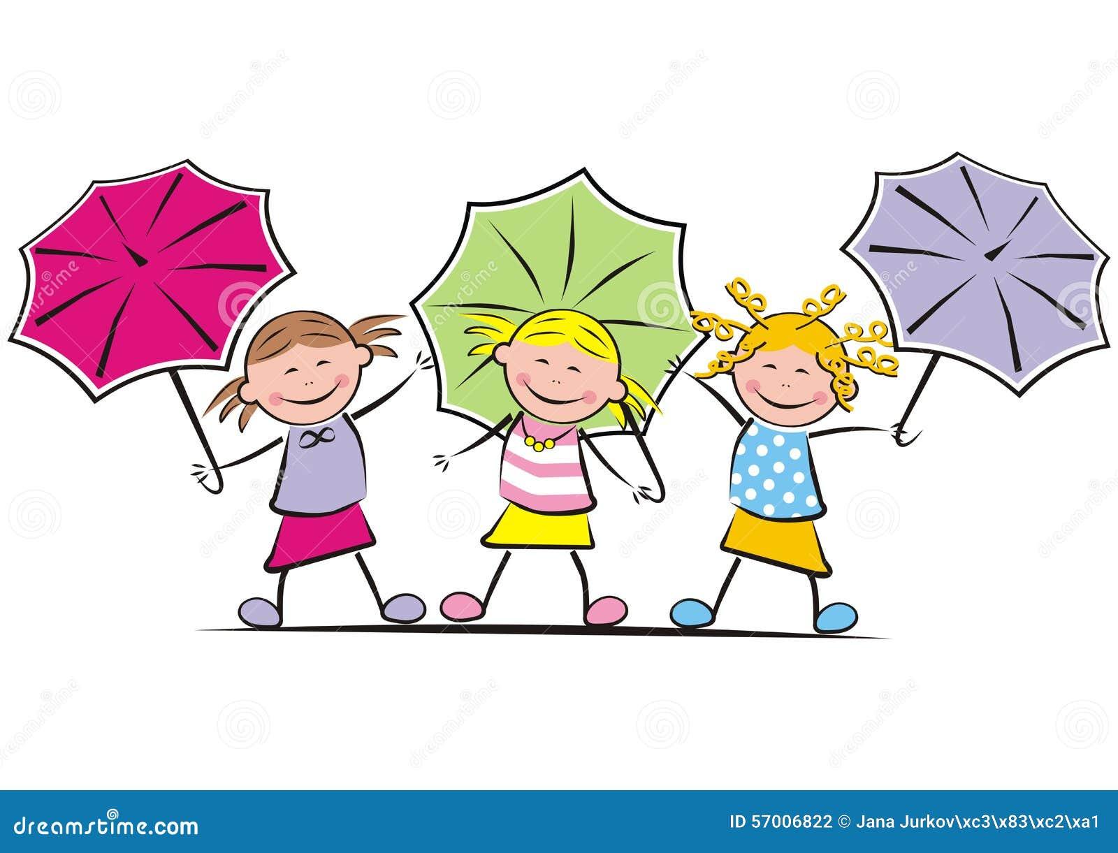 girls and umbrella stock vector image 57006822