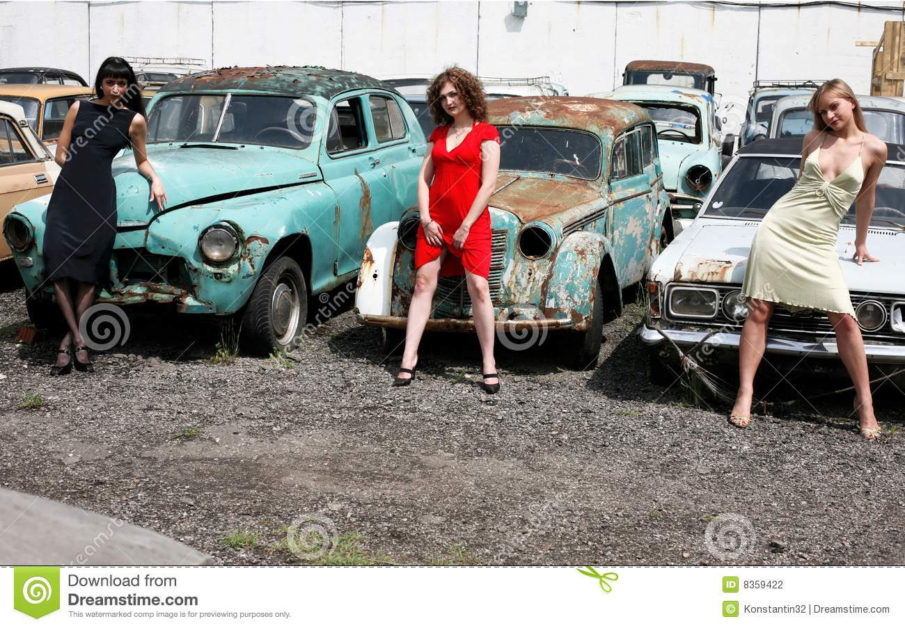 Girls With Vintage Car Stock Photo Image Of Flirt Happy