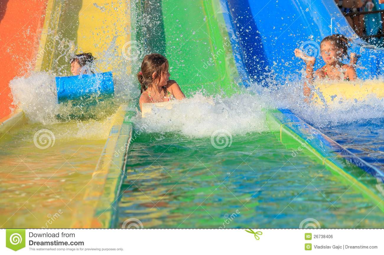 Cool   Elisabetta Looks Nervous As She Clings On To Falco On A Water Slide