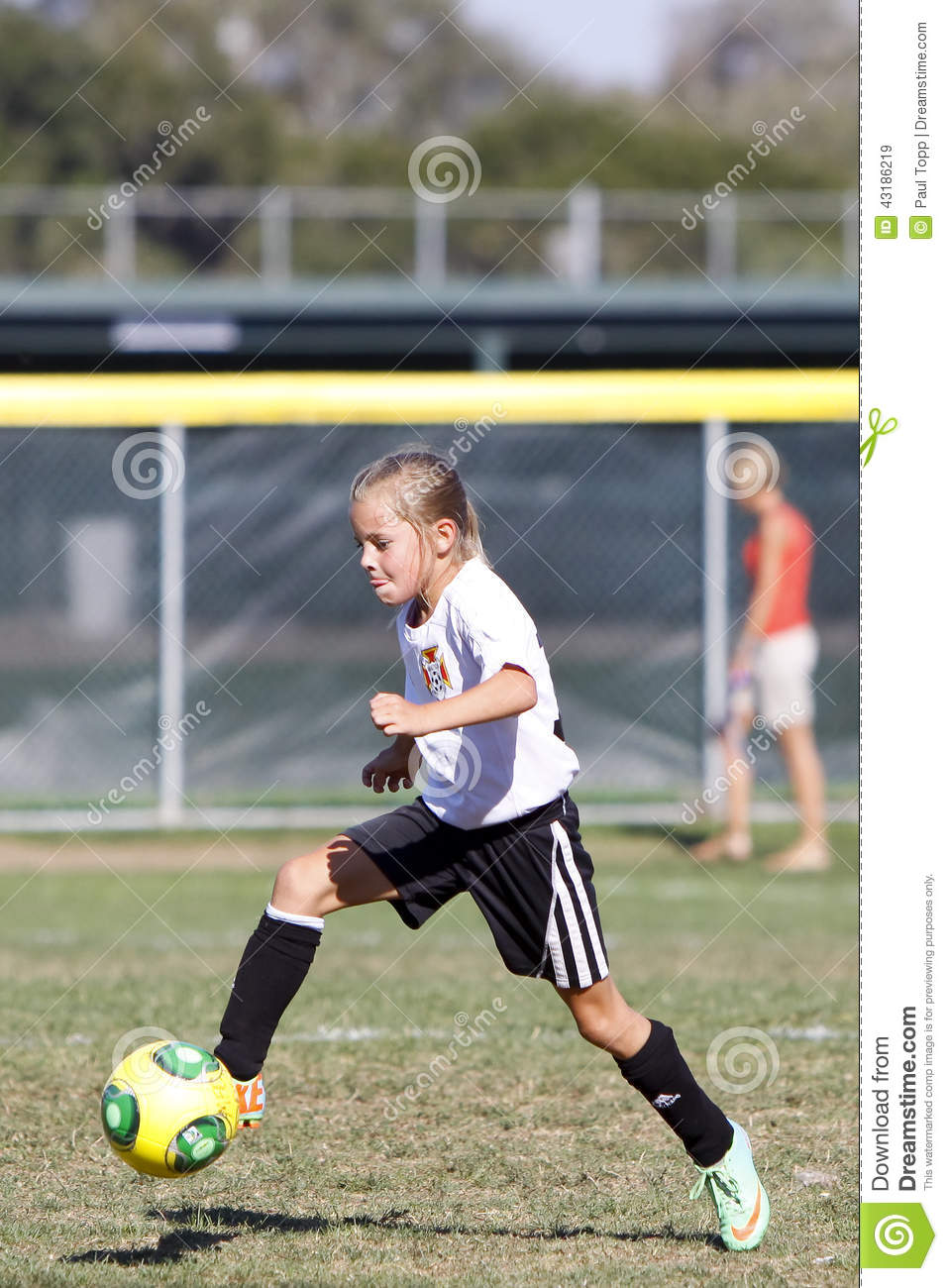 Girls Youth Soccer Football Player Kicking The Ball Editorial Stock Image - Image Of -9299
