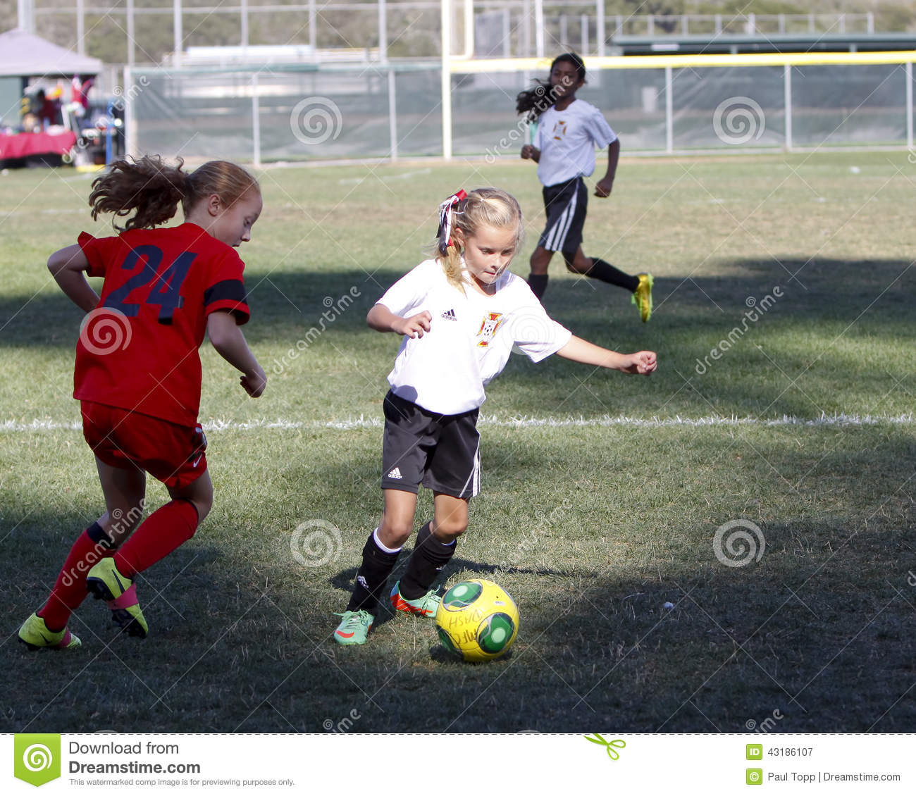 Girls Youth Soccer Football Players Running For The Ball Editorial Image -3949