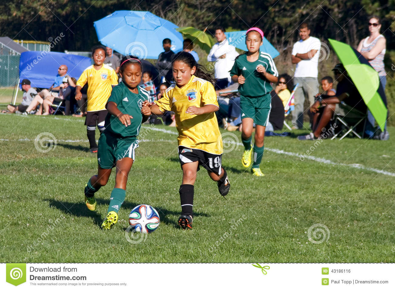Girls Youth Soccer Football Players Running For The Ball Editorial Image -2790