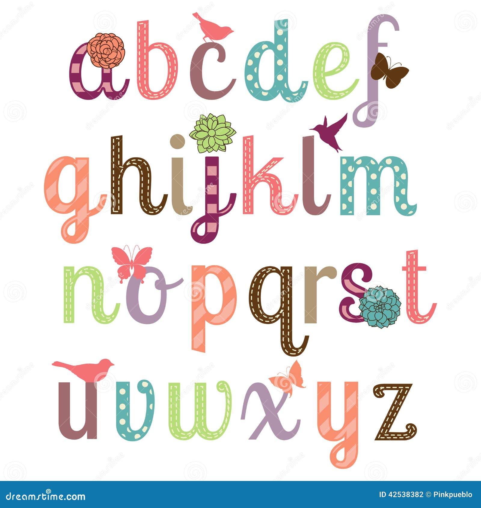 Girly комплект вектора алфавита