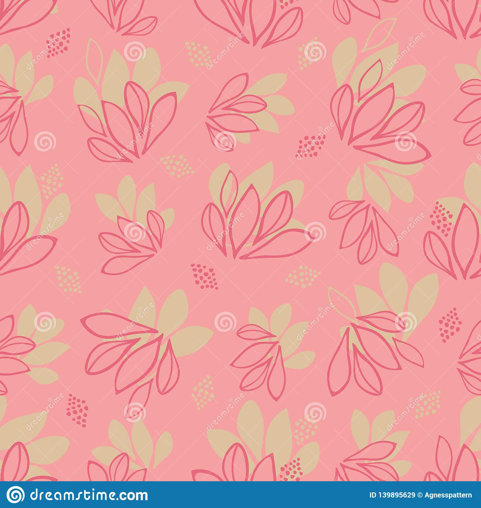 Girly Abstract Leaves Vector Seamless Texture Pattern On Pink