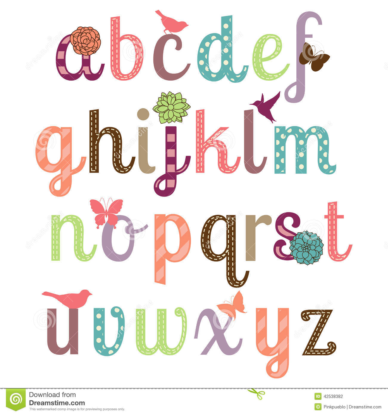 Girly Alphabet Vector Set Stock Vector Illustration Of Cartoon