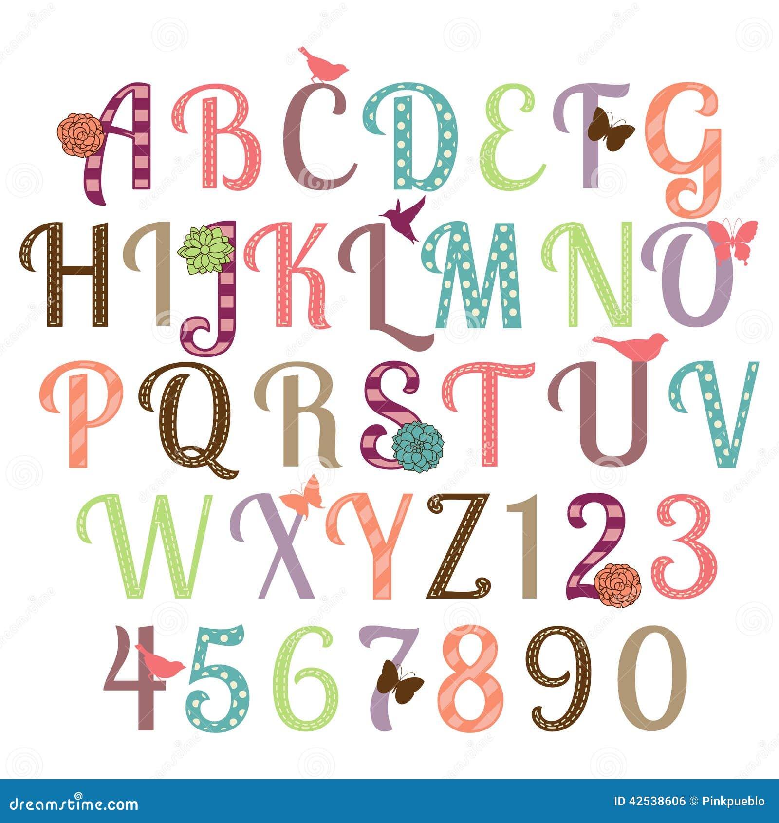 Girly Alphabet Vector Set Stock Vector Image Of Flowers