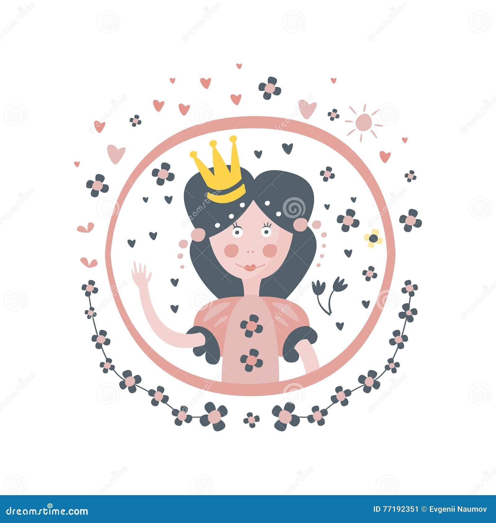 Girly Aufkleber Prinzessin-Fairy Tale Character Im Runden Rahmen ...