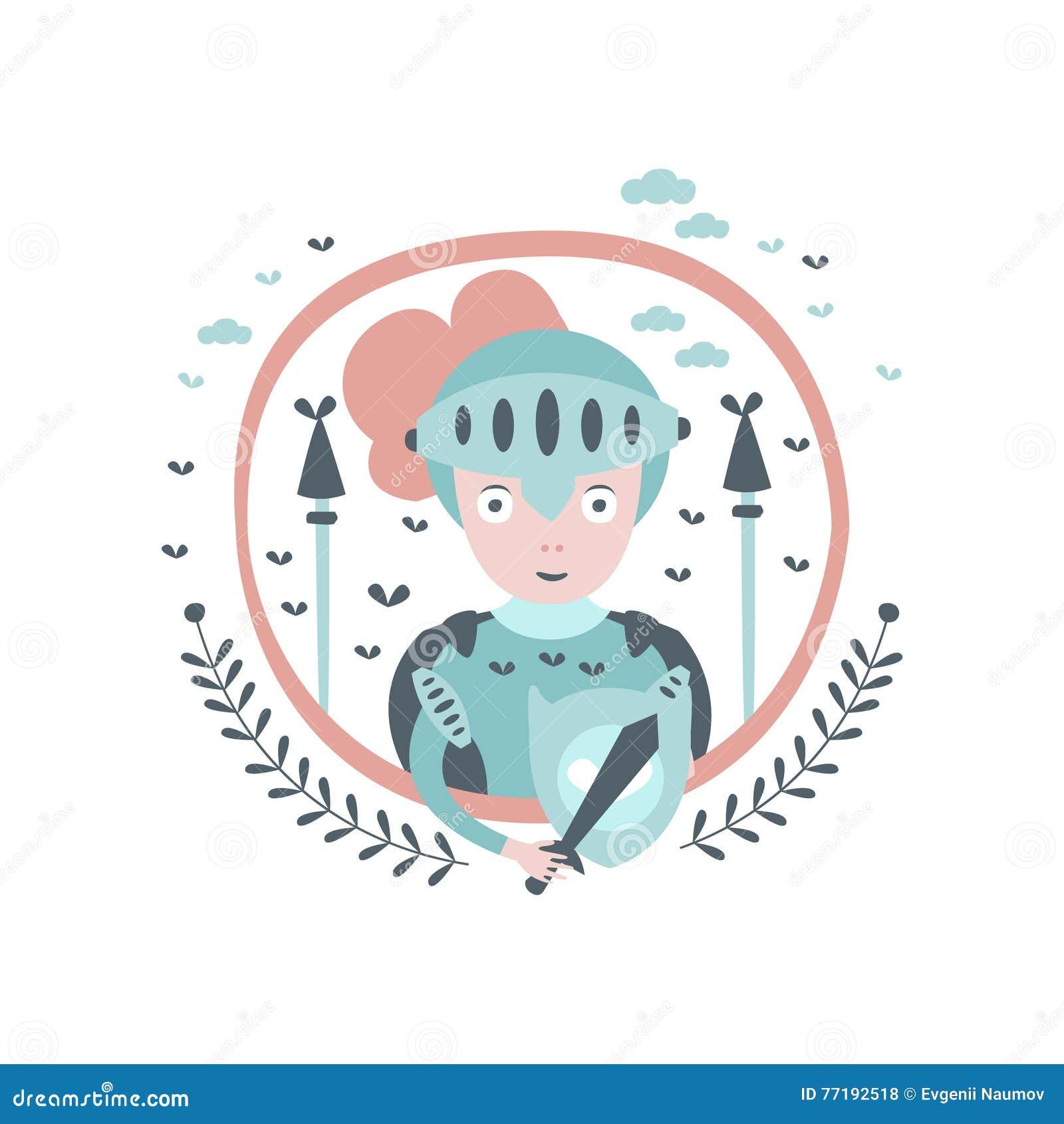 Girly Aufkleber Ritter-Fairy Tale Characters Im Runden Rahmen Vektor ...
