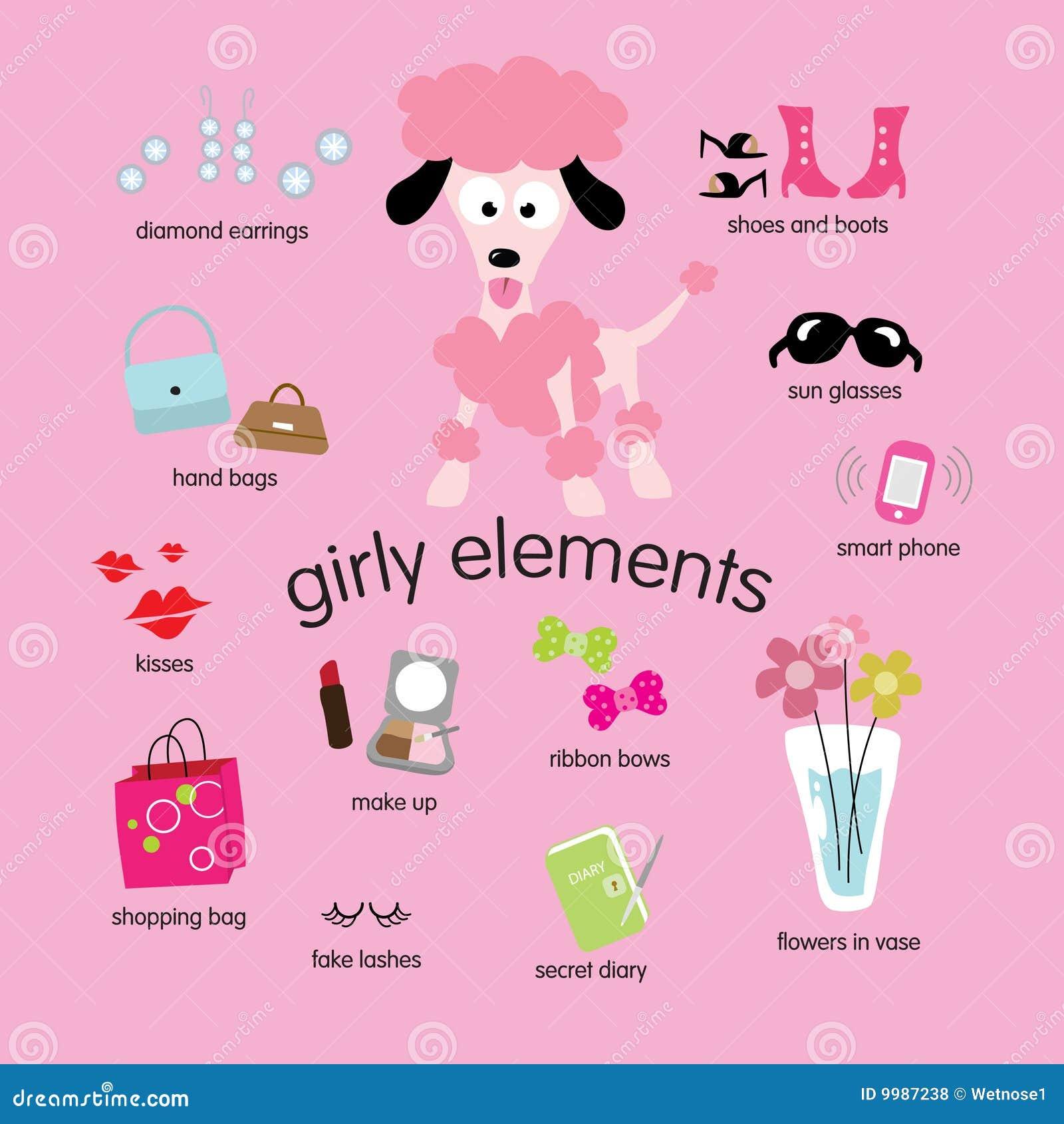 Girly Elements Set Royalty Free Stock Photos - Image: 9987238