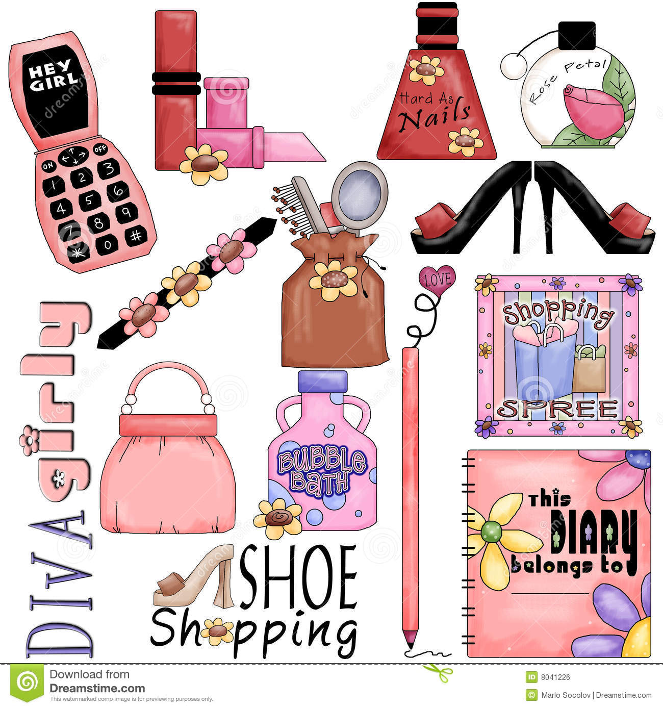 Girly Girl Collection stock illustration. Illustration of ...