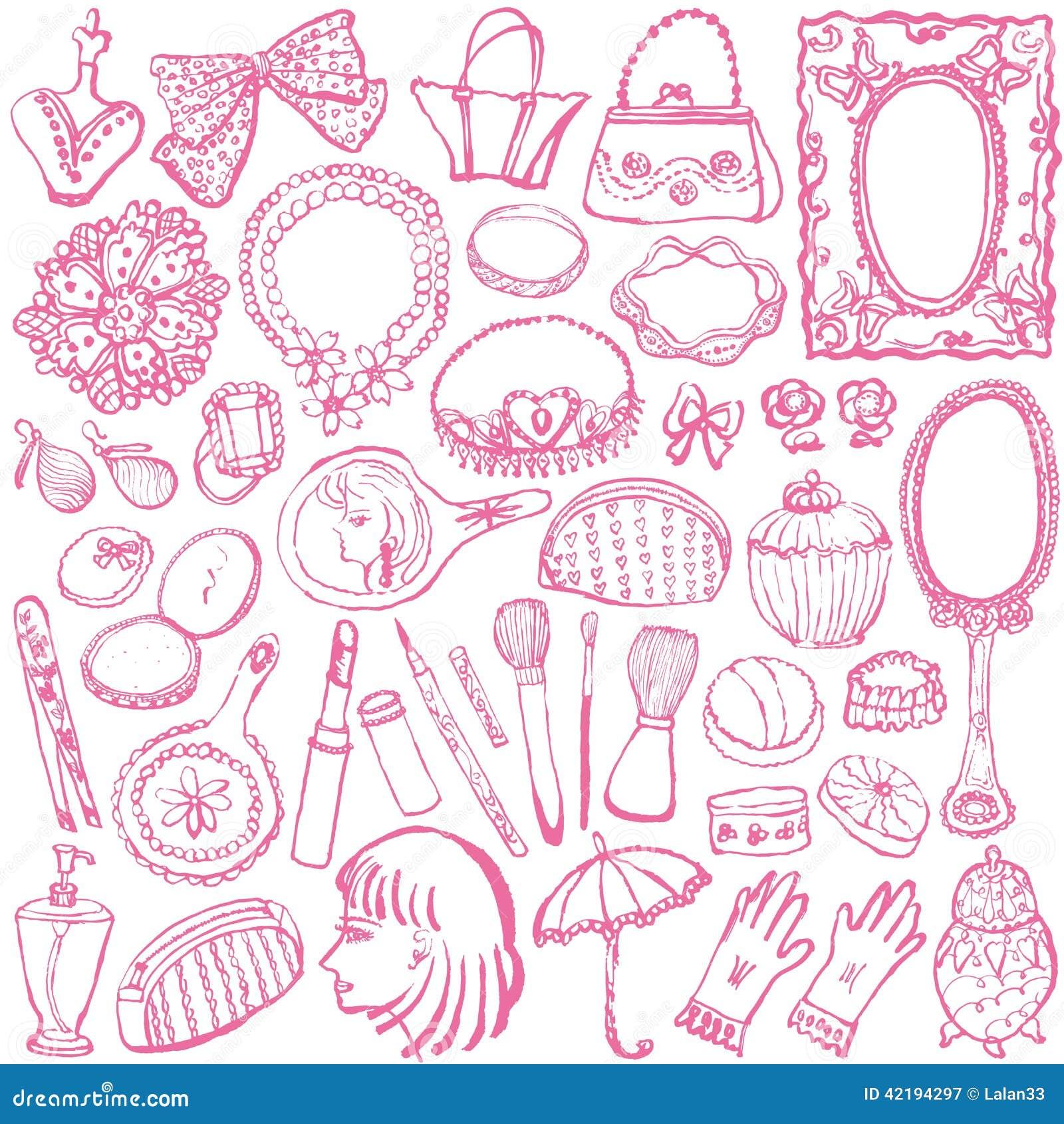 Girly Illustrations. Stock Vector