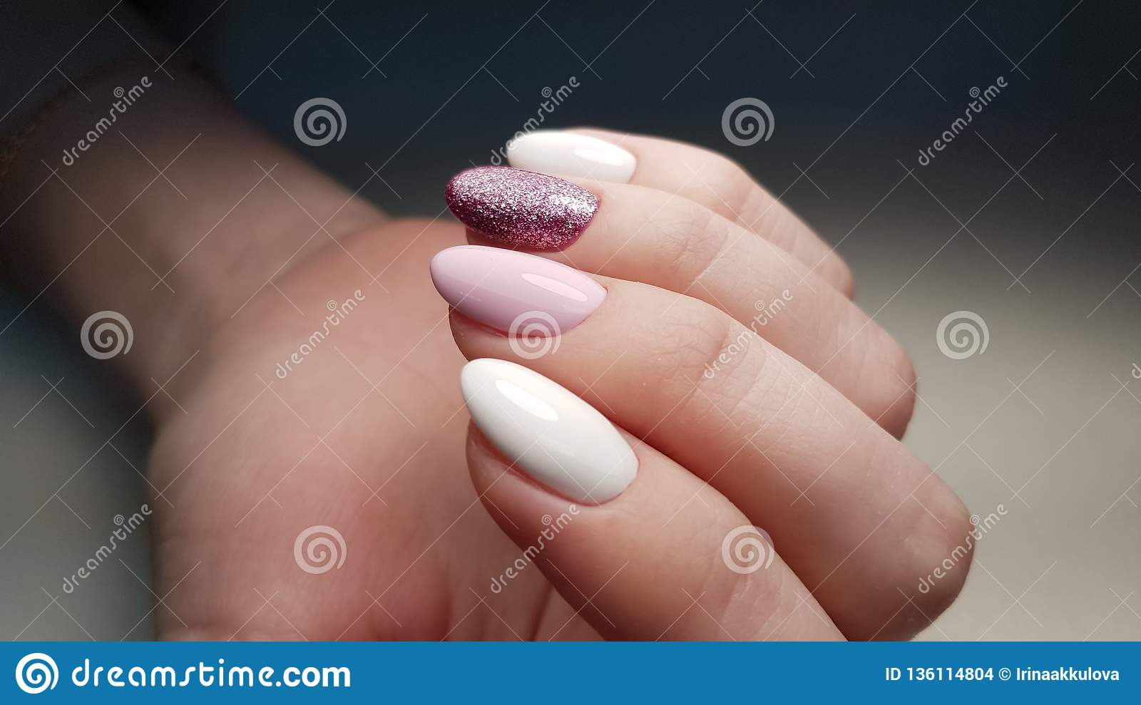 Girly Nails Pink And White Stock Photo Image Of Christmas 136114804