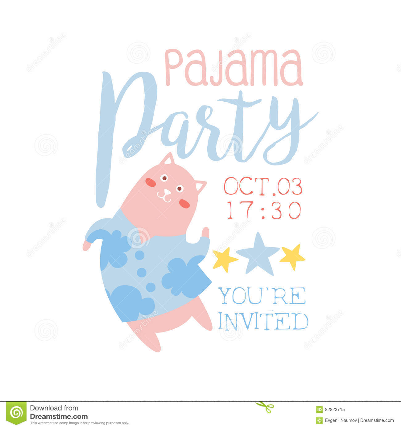 Girly Pajama Party Invitation Card Template With Cat Inviting Kids ...