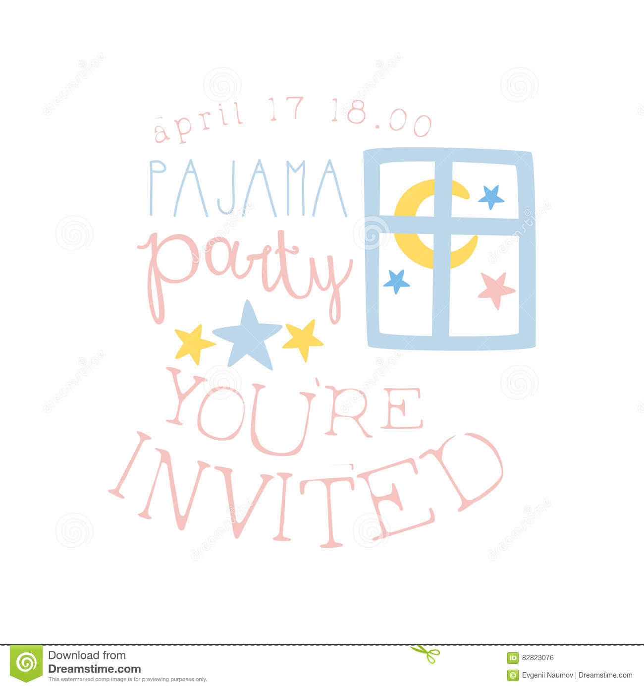 Girly Pajama Party Invitation Card Template With Night