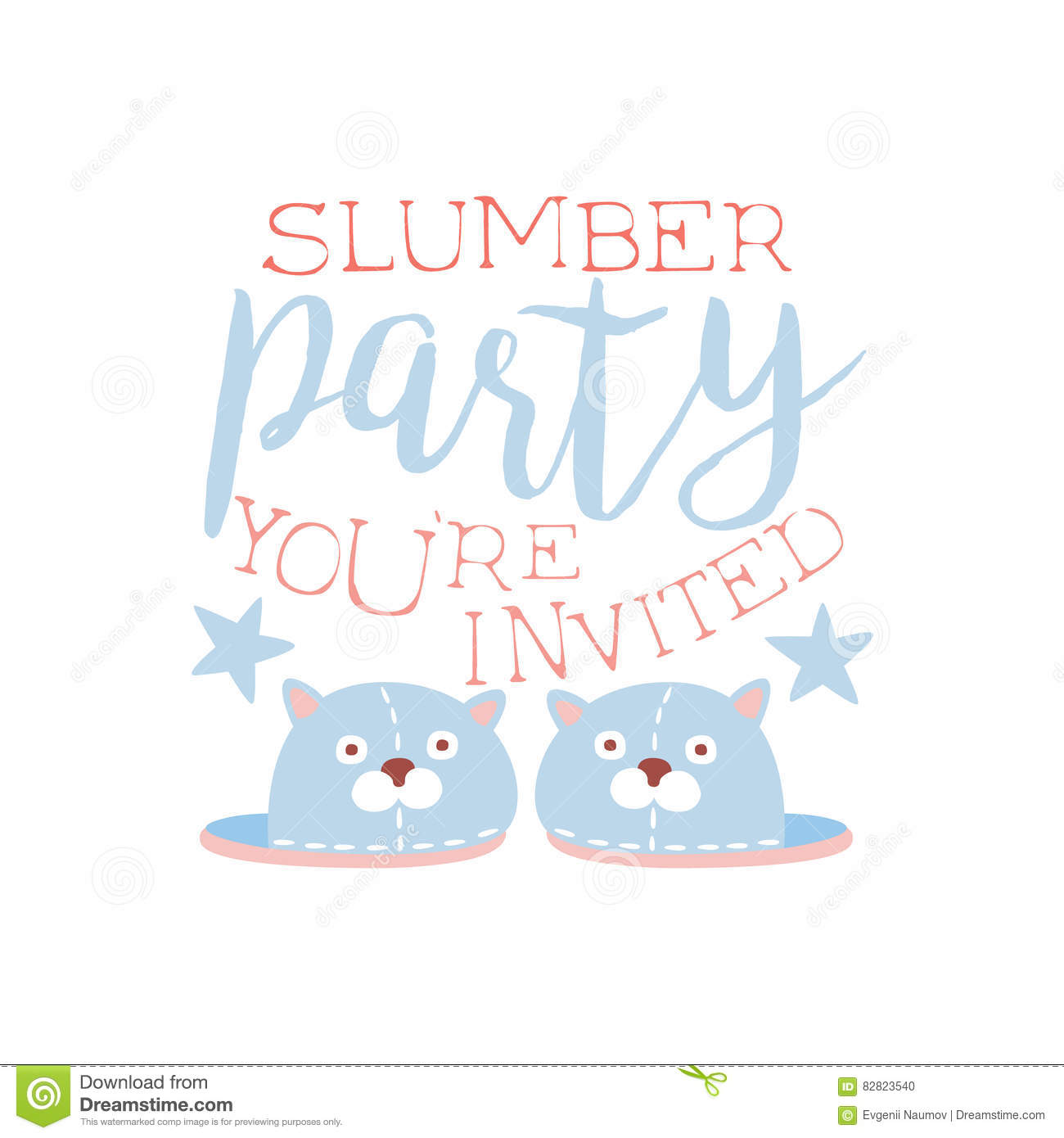 girly pajama party invitation card template with pair of slippers
