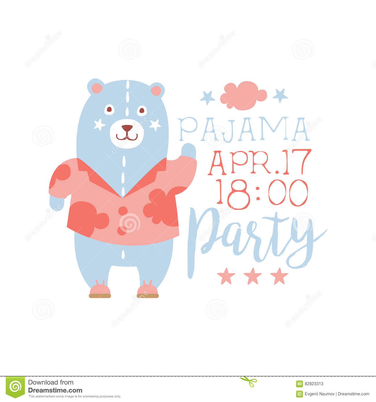 girly pajama party invitation card template with toy bear inviting