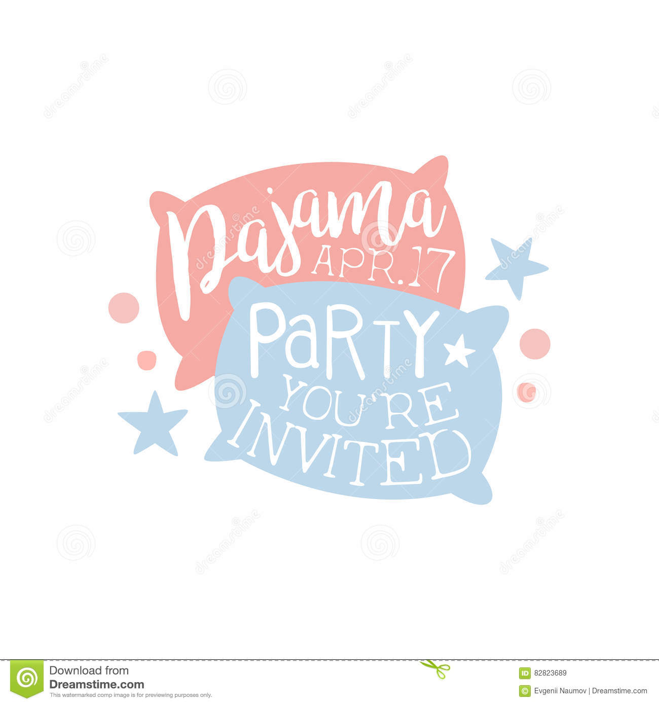 Girly Pajama Party Invitation Card Template With Two ...