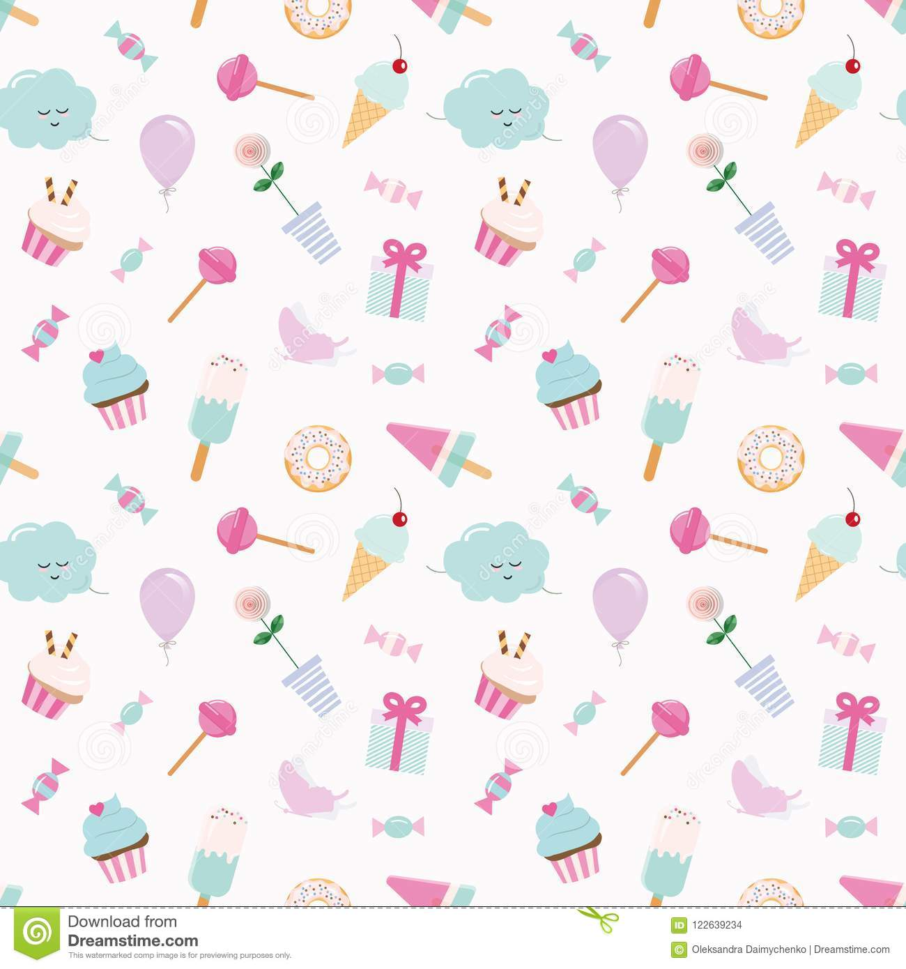 Girly pattern background with sweets and cute elements. Pastel pink and blue. Raster