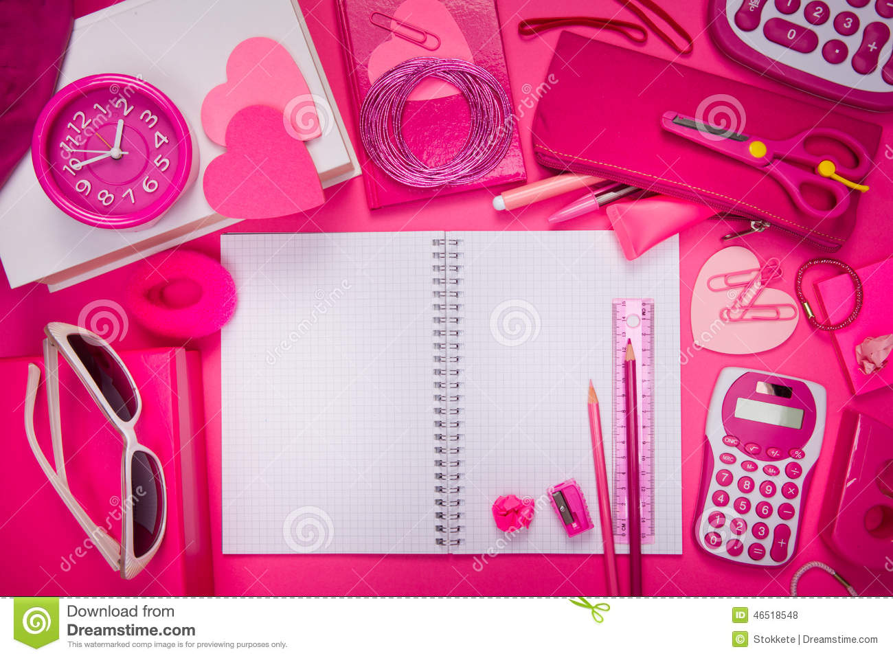 Girly Pink Desktop And Stationery Stock Photo - Image ...