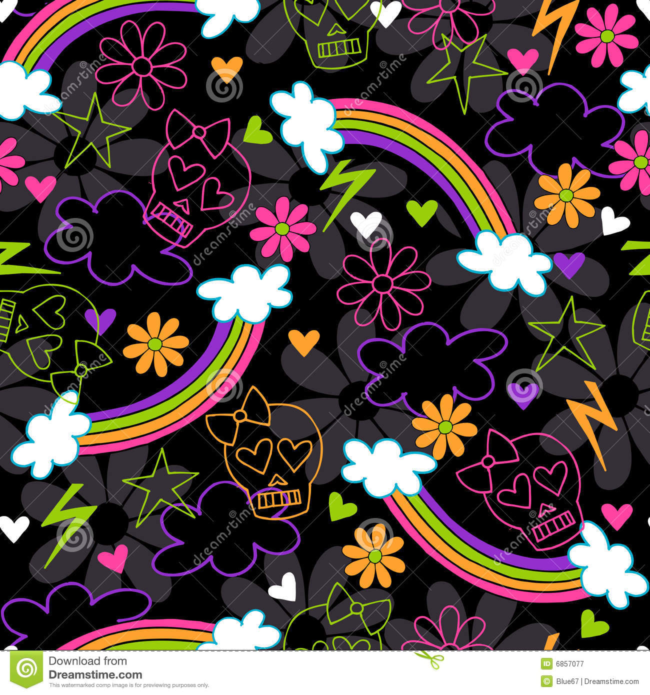 Girly skulls rainbow seamless repeat pattern stock vector girly skulls rainbow seamless repeat pattern voltagebd Choice Image