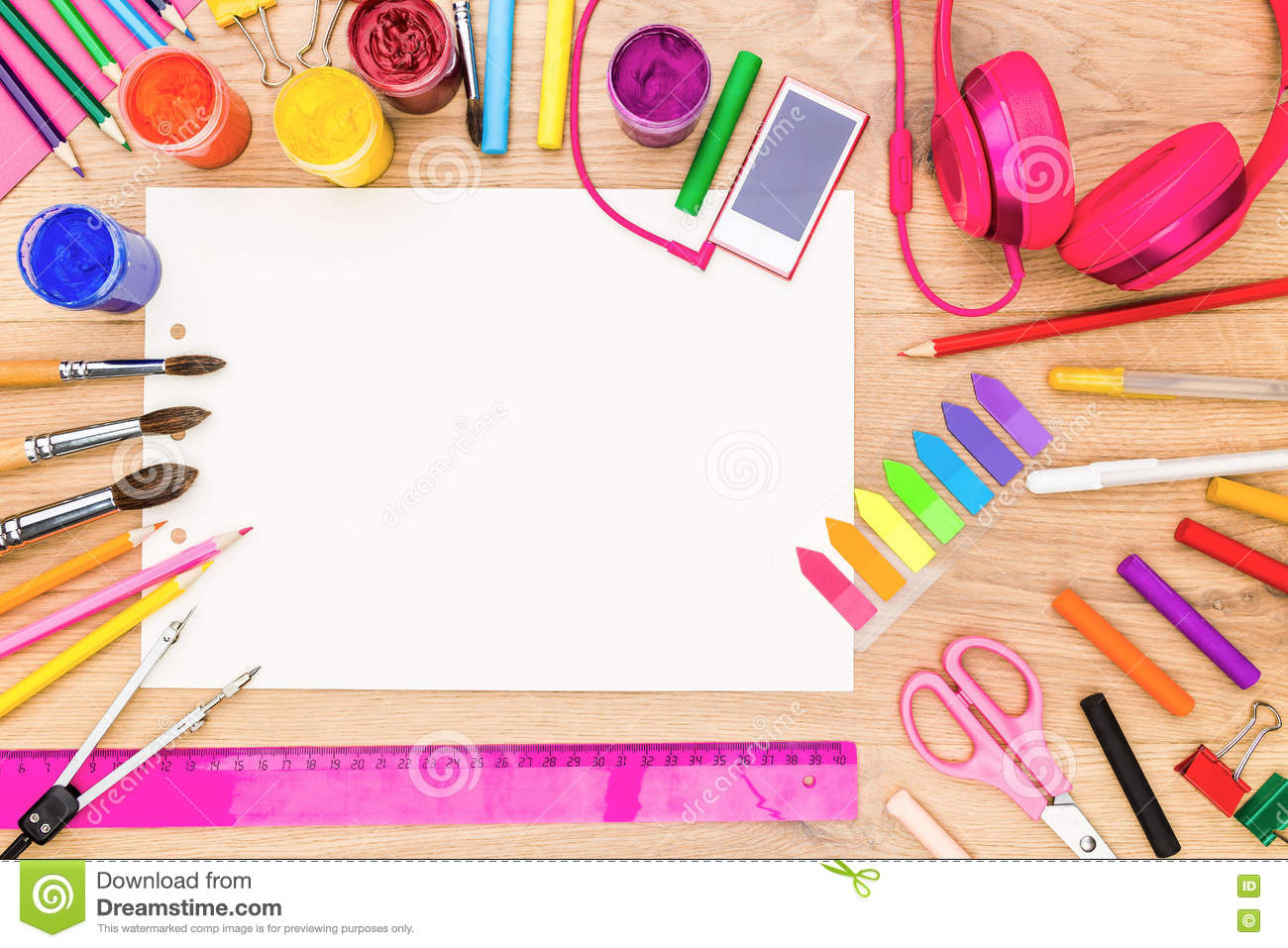 Girly tabletop with drawing tools stock photo image for Draw tool free