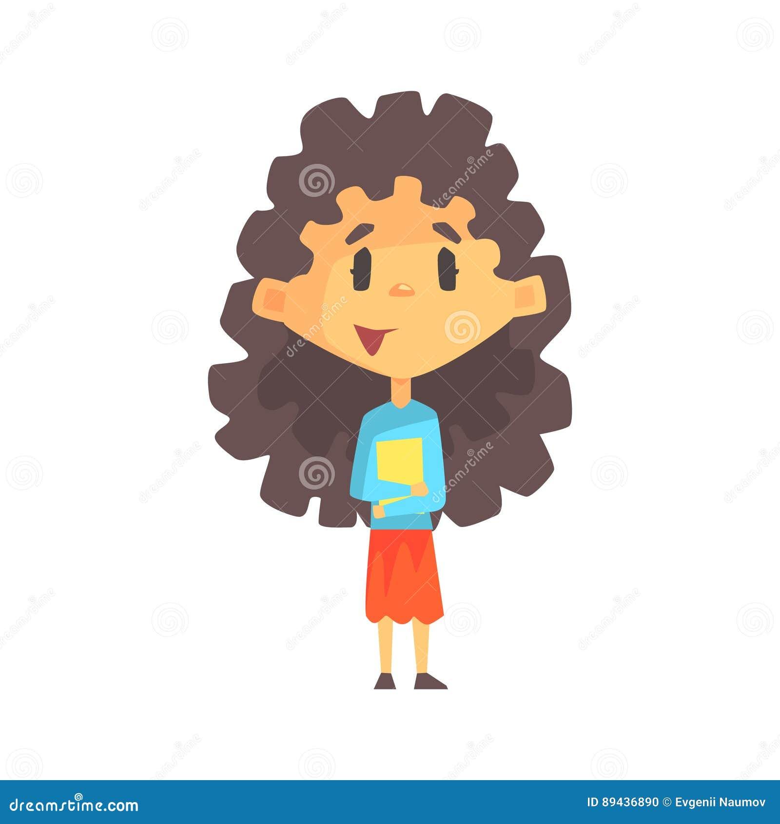 Girlymeisje met de Lange Donkere Boeken van de Haarholding, Lage schooljong geitje, Elementair Klassenlid, Geïsoleerde Jonge Stud