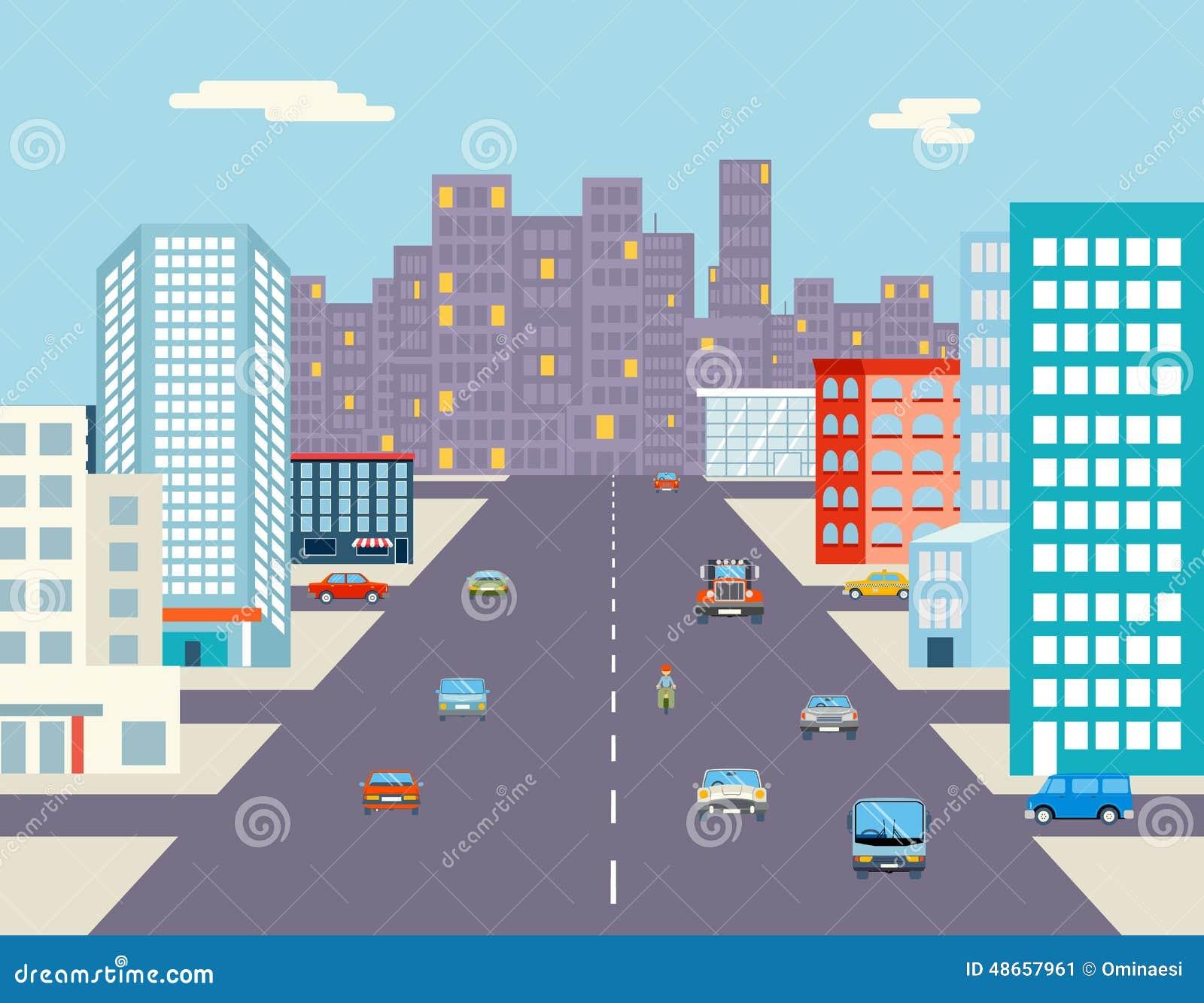 Giro dell automobile che guida il piano del fondo della via della città