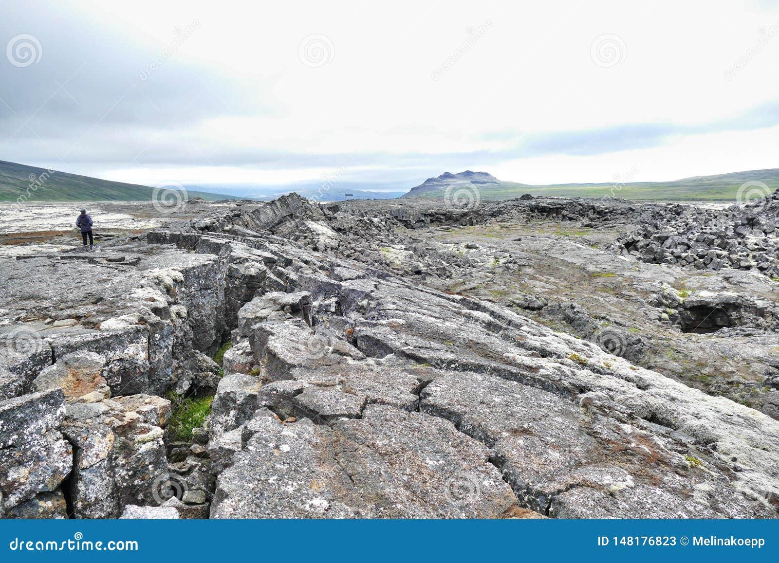 Gisement de lave de Surtshellir en Islande occidental
