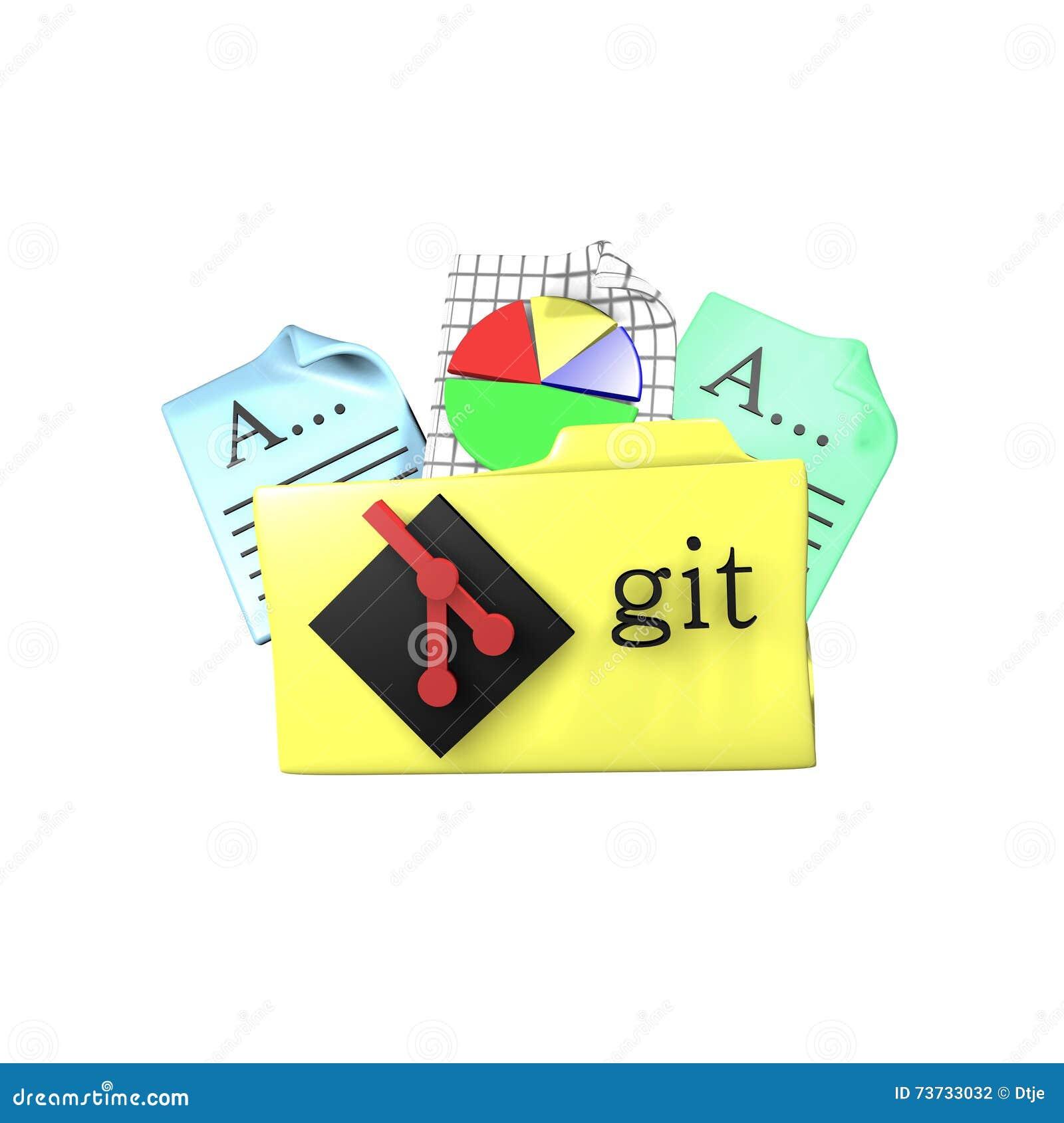Git Version Control Tool Folder  3d Rendering Stock Illustration